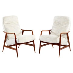 Mid Century Italian Pair of Armachairs Soild Wood Structure by Framar