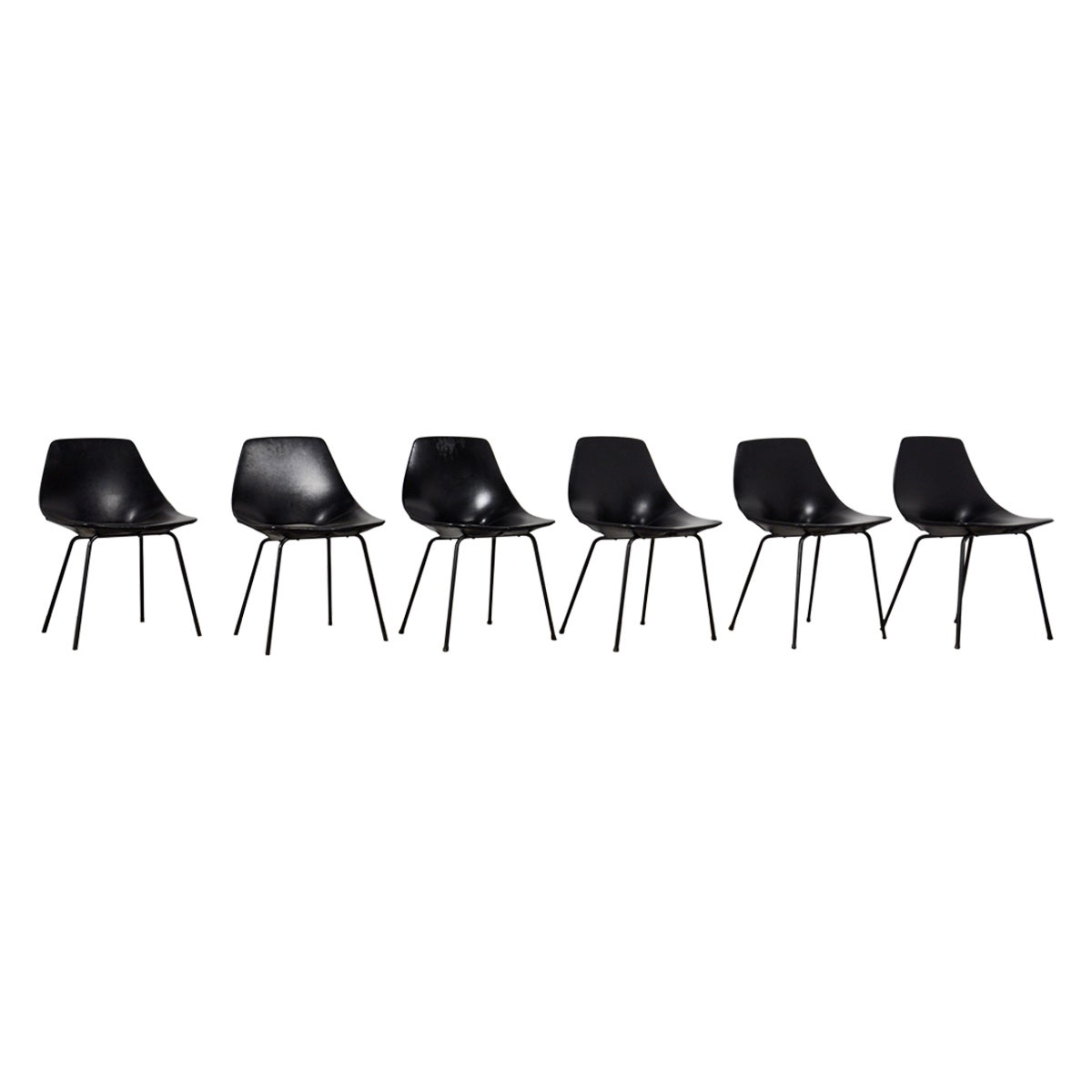 Tonneau Chairs by Pierre Guariche for Steiner, 1950s Set of 6