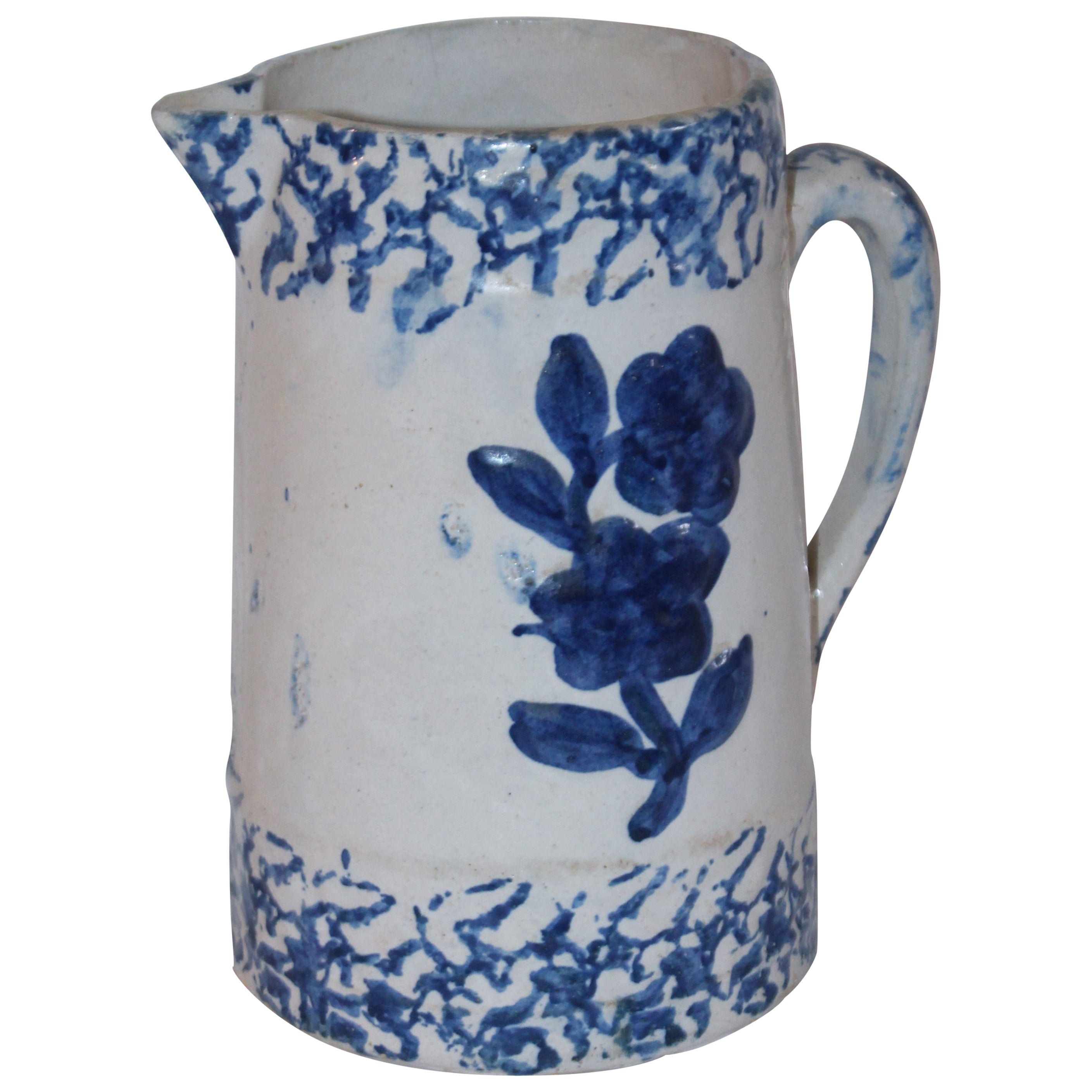 19th Century Sponge Pitcher with Floral Design