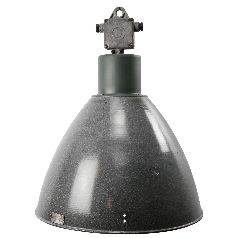 Large Gray Enamel Vintage Industrial Pendant Light