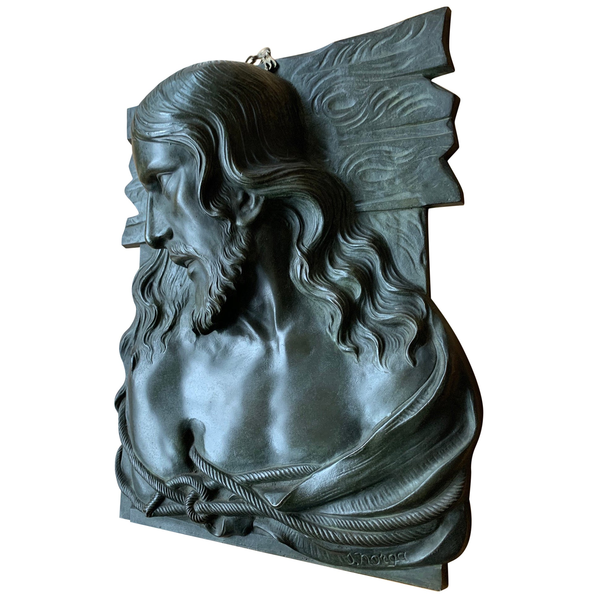 Large & Top Quality Bronze Art Deco Wall Plaque /Sculpture of Christ by S. Norga