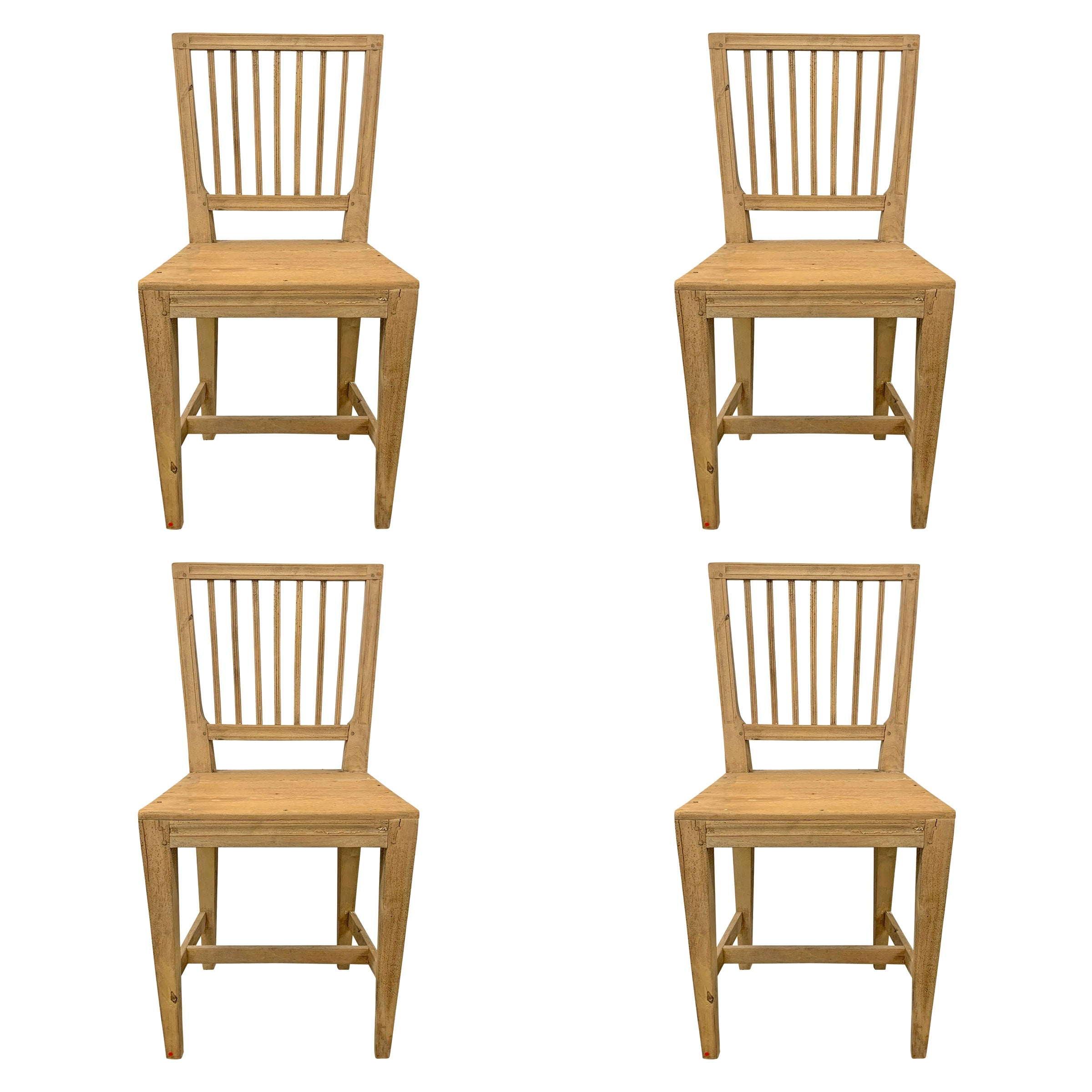 Set of Four Swedish Gustavian Pine Dining Chairs