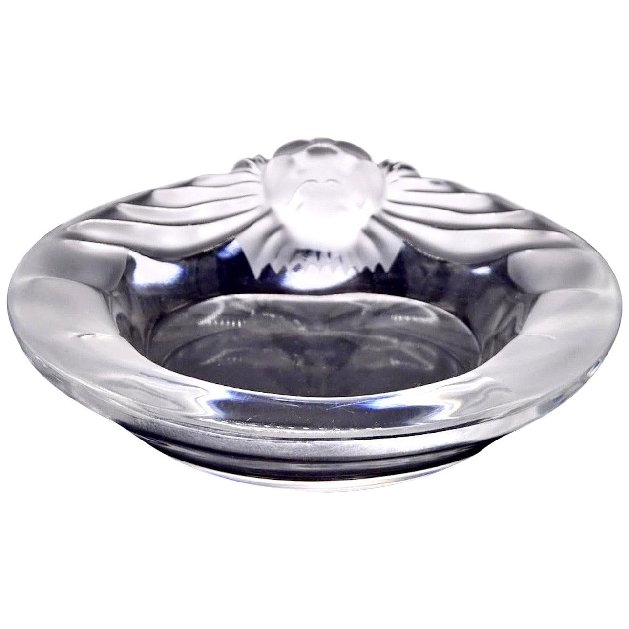 Lalique Vintage Lion Crystal Bowl, Clear Basin, Dish, Ashtray, Signed