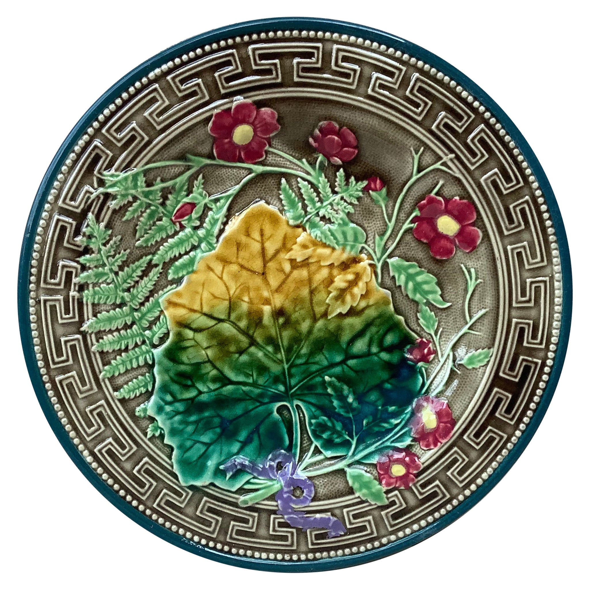 19th Majolica Leaves and Pink Flowers Plate Choisy Le Roi