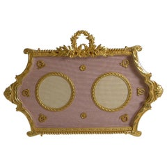 Antique French Gilded Bronze Double Photograph / Picture Frame c.1900