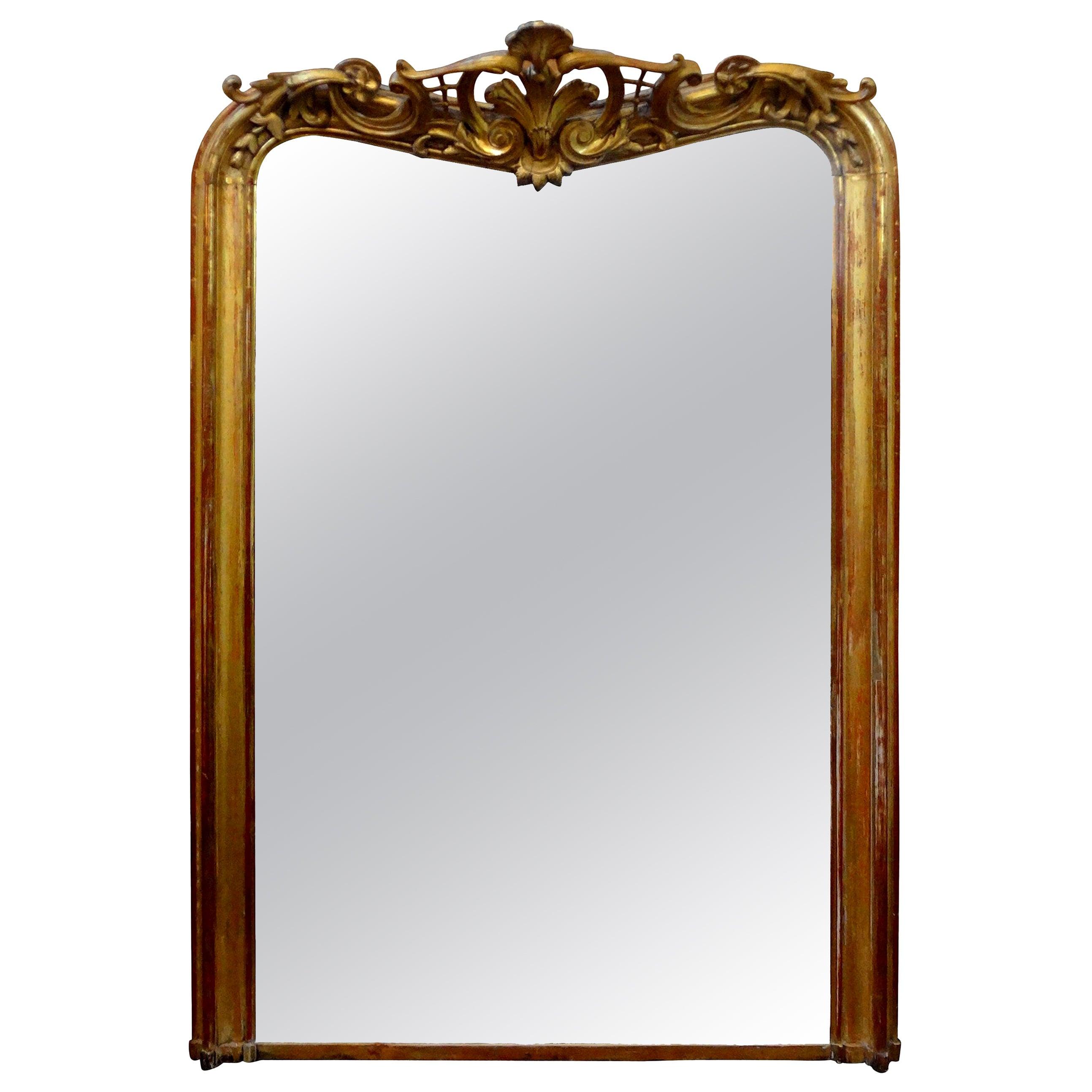 19th Century French Louis XV Style Giltwood Mirror