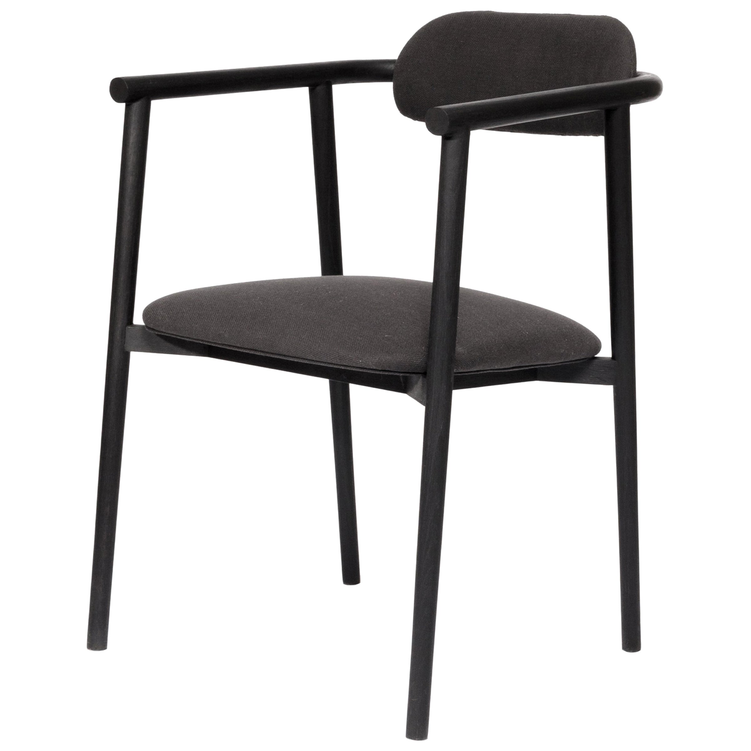 Neutra black Inked Oak Chair with Upholstered Backrest and Seat
