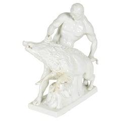 White Porcelain Sculpture of Man Wrestling Boar