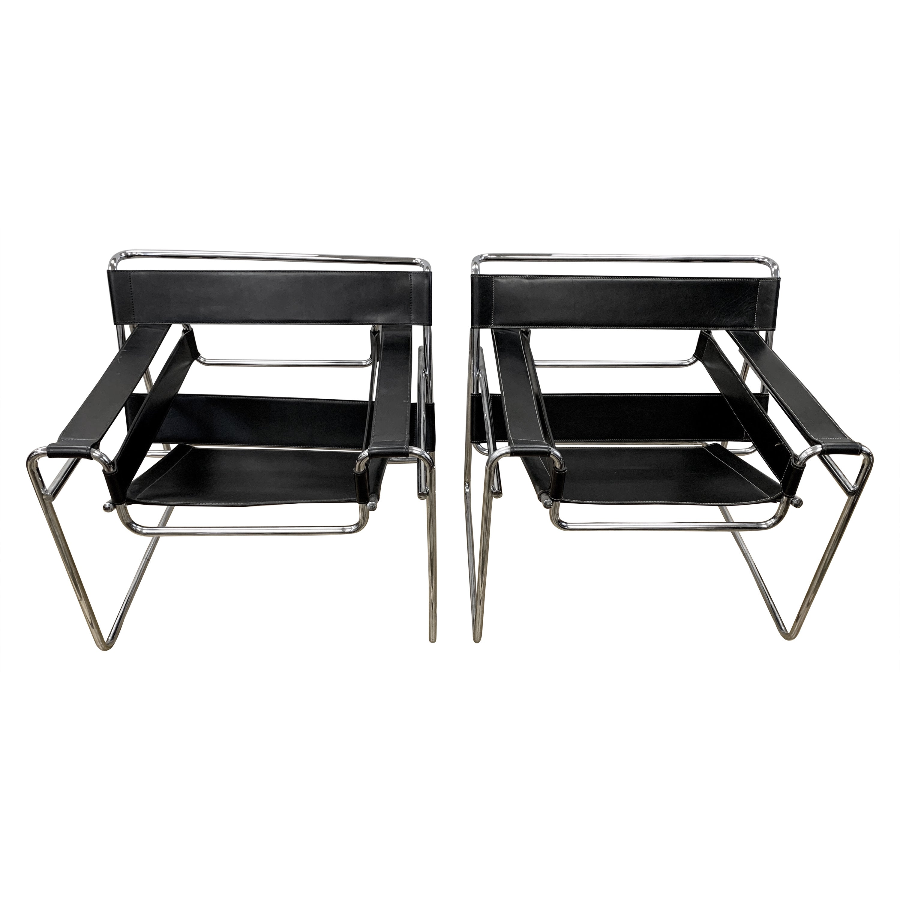 Pair of Black Marcel Breuer Style Black Leather Wassily Chairs