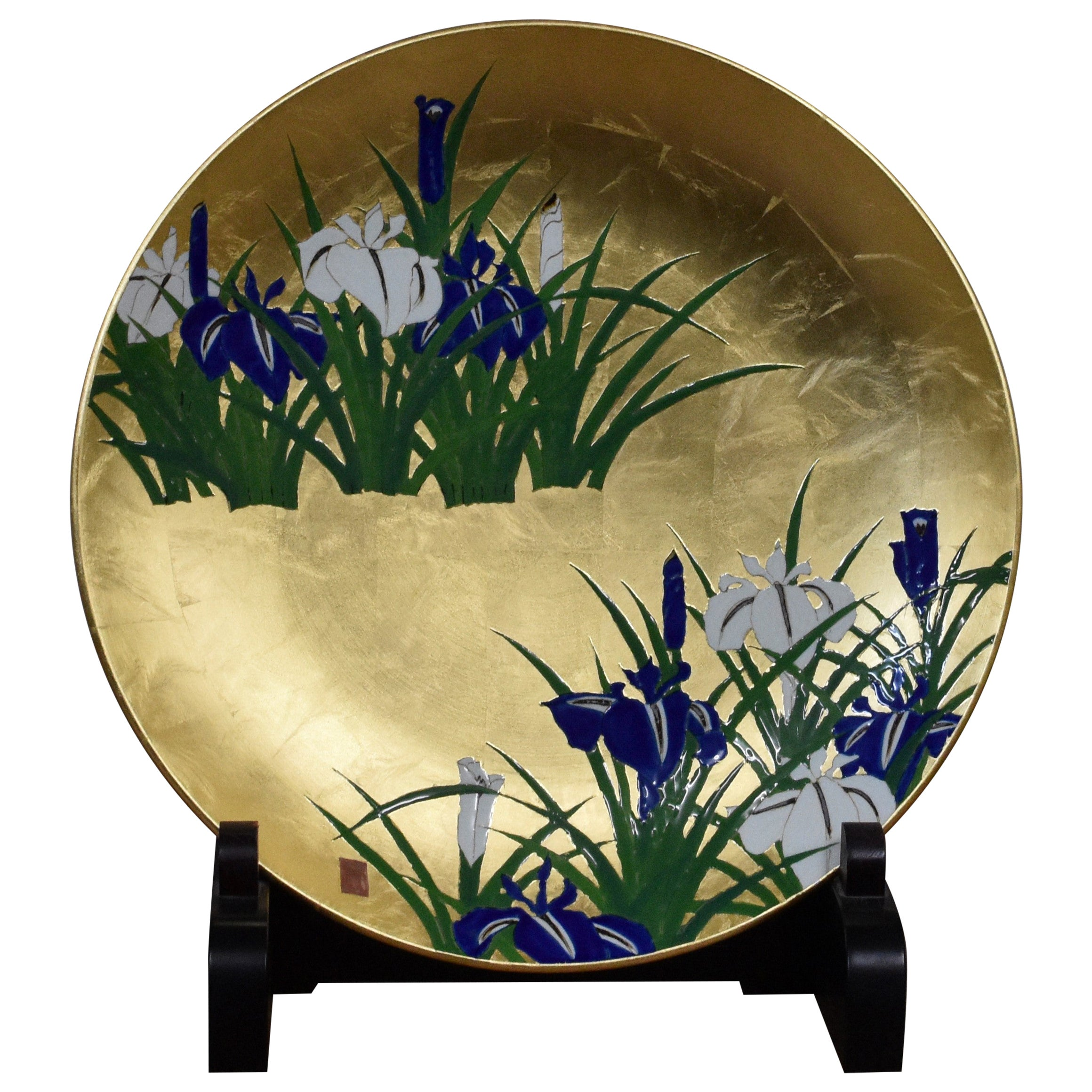 Japanese Blue Green Gilded Porcelain Charger by Contemporary Master Artist