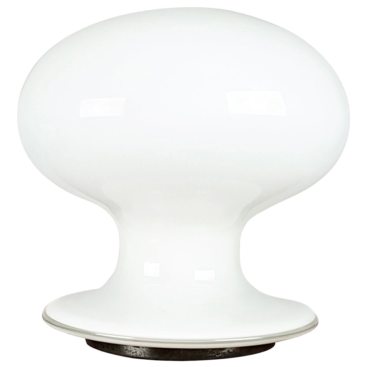 White and Clear Murano Glass Mushroom 1960s Table Lamp by Vistosi