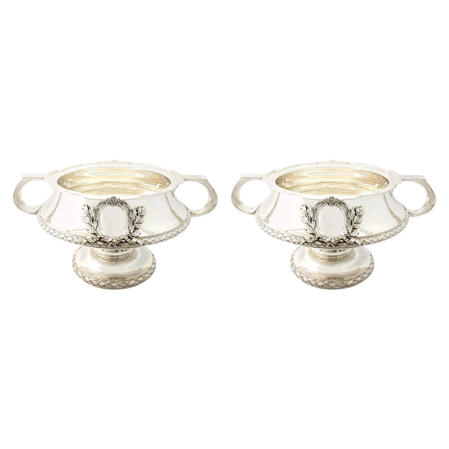 Antique Pair of George V 1910s Sterling Silver Bowls / Centrepieces