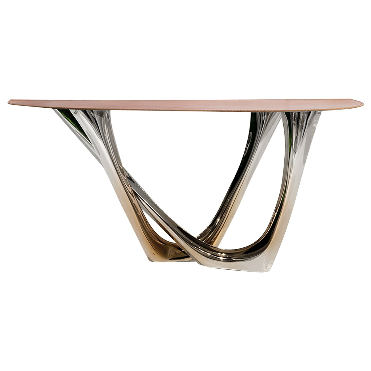 G-Console Duo by Zieta Prozessdesign, Stainless Steel and Leather