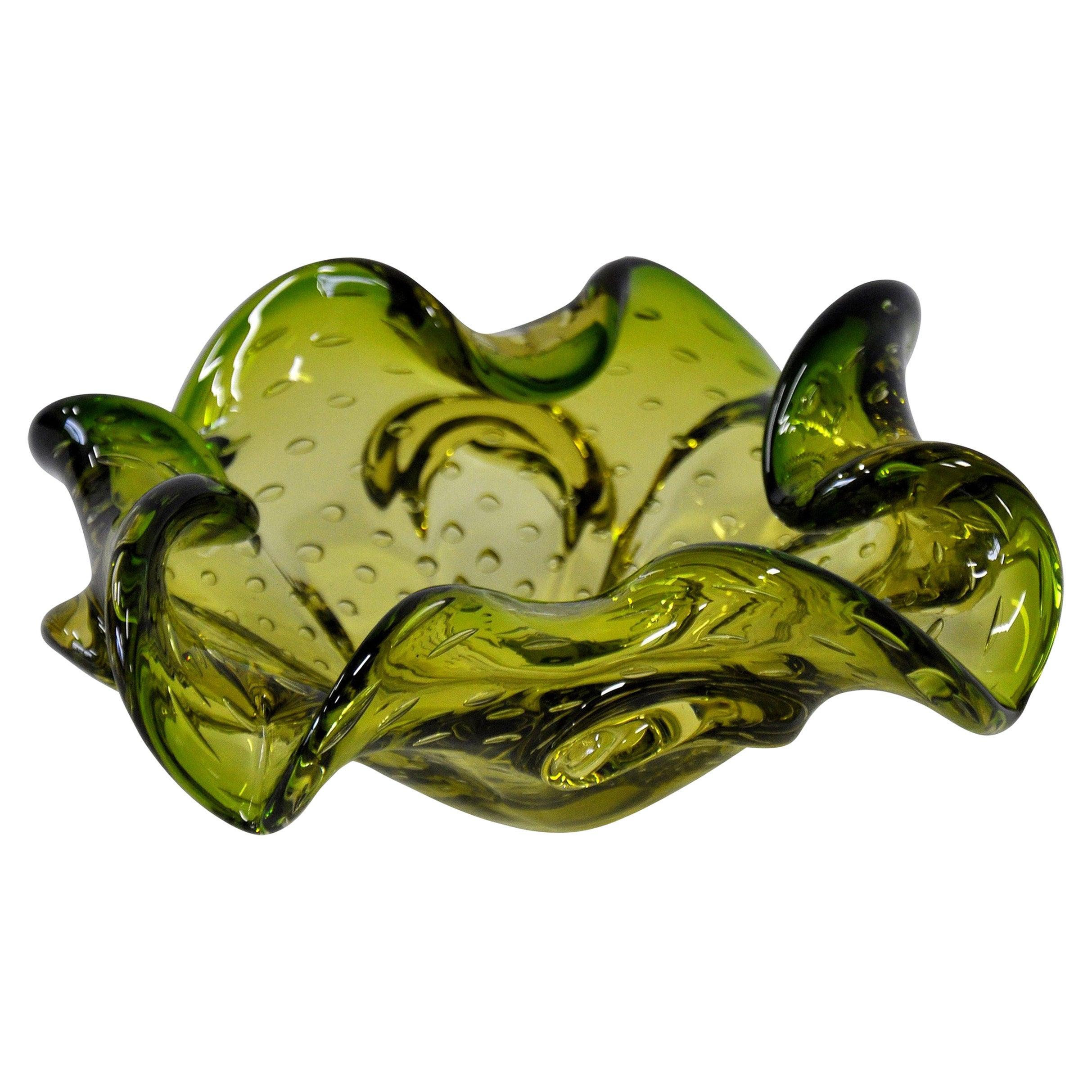 Green Murano Glass Controlled Bubbles Bowl