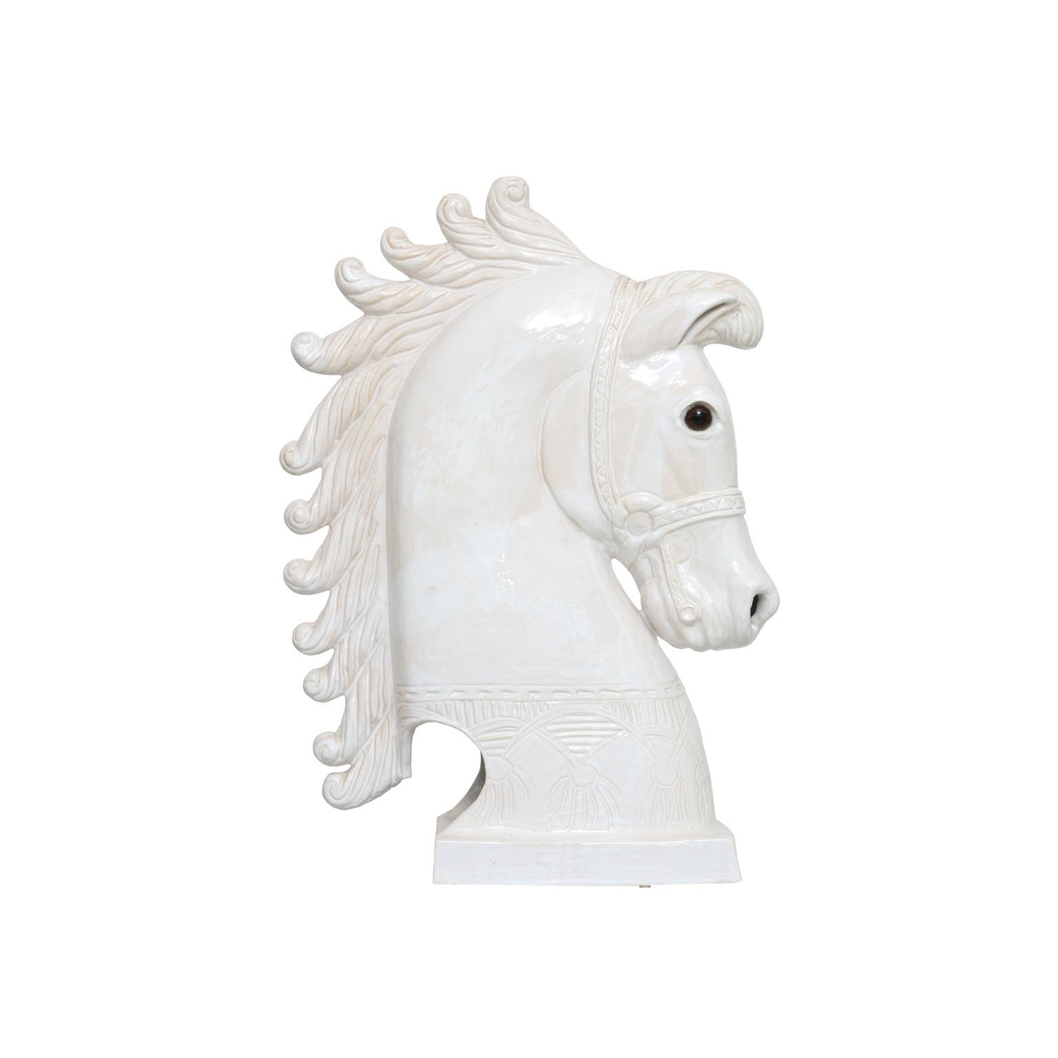 Midcentury Glazed Pottery Horse Head Sculpture, France, 1950s