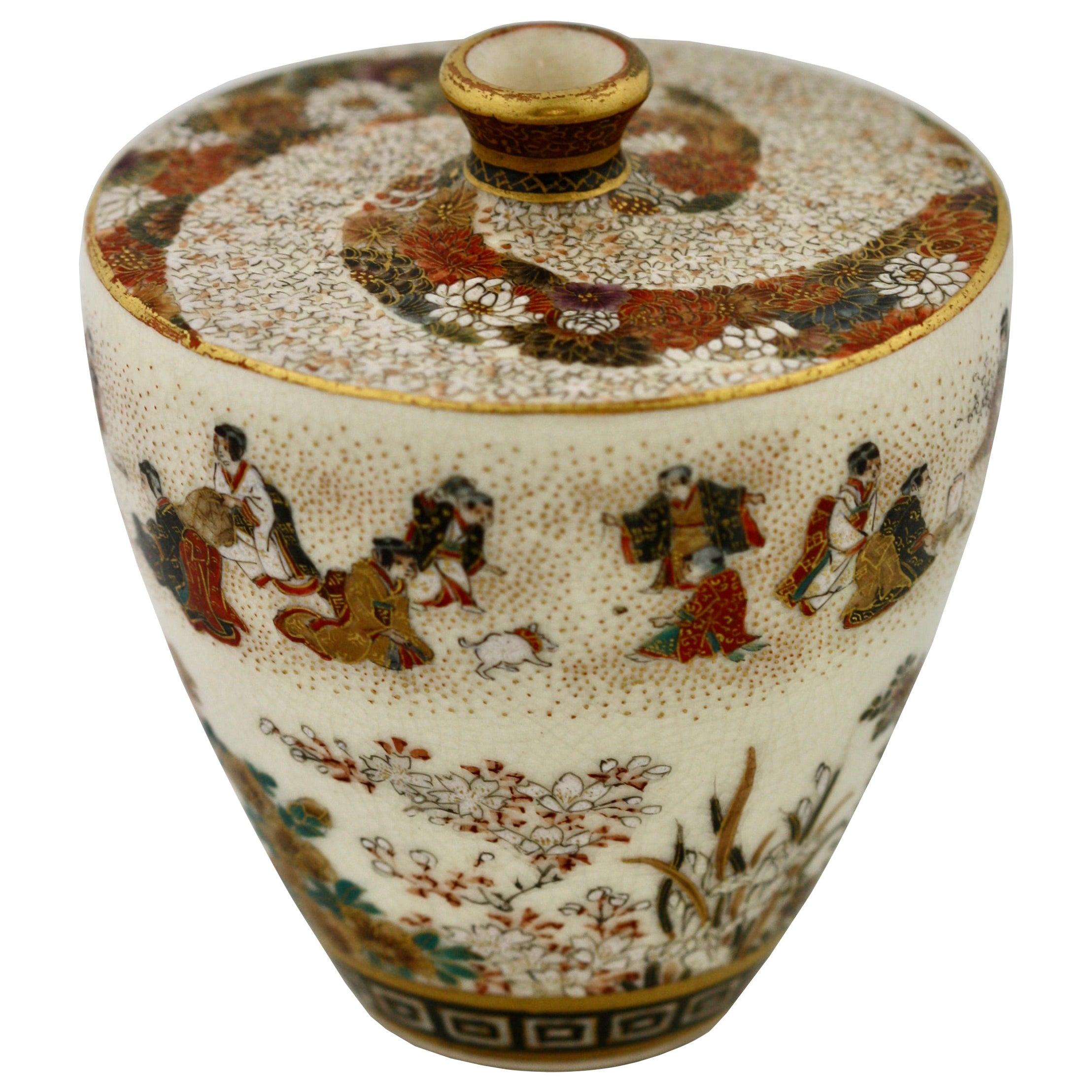 Satsuma Earthenware Flat Shouldered Ovoid Vase, Garlic Mouth by Yabu Meizan