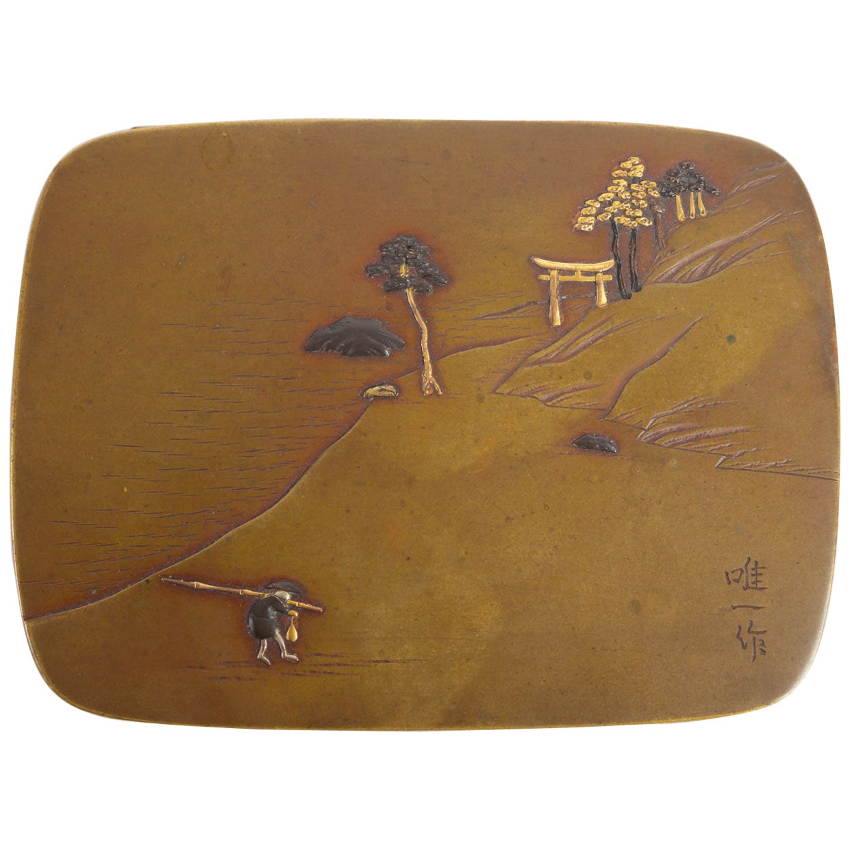 Bronze Box, Gold and Silver Enamel, Japan, 19th Century