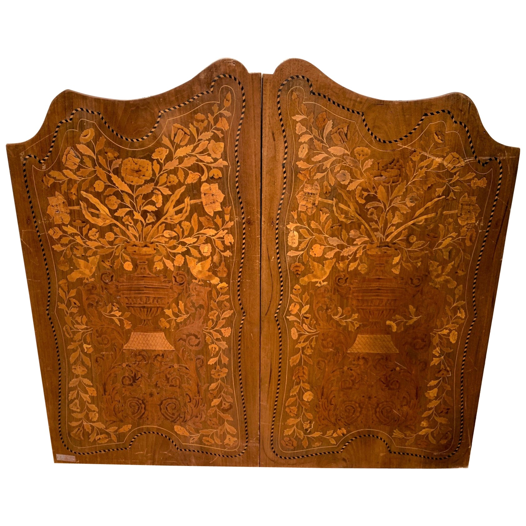 19th Century Pair of Dutch Walnut Marquetry Inlaid Wall Panels