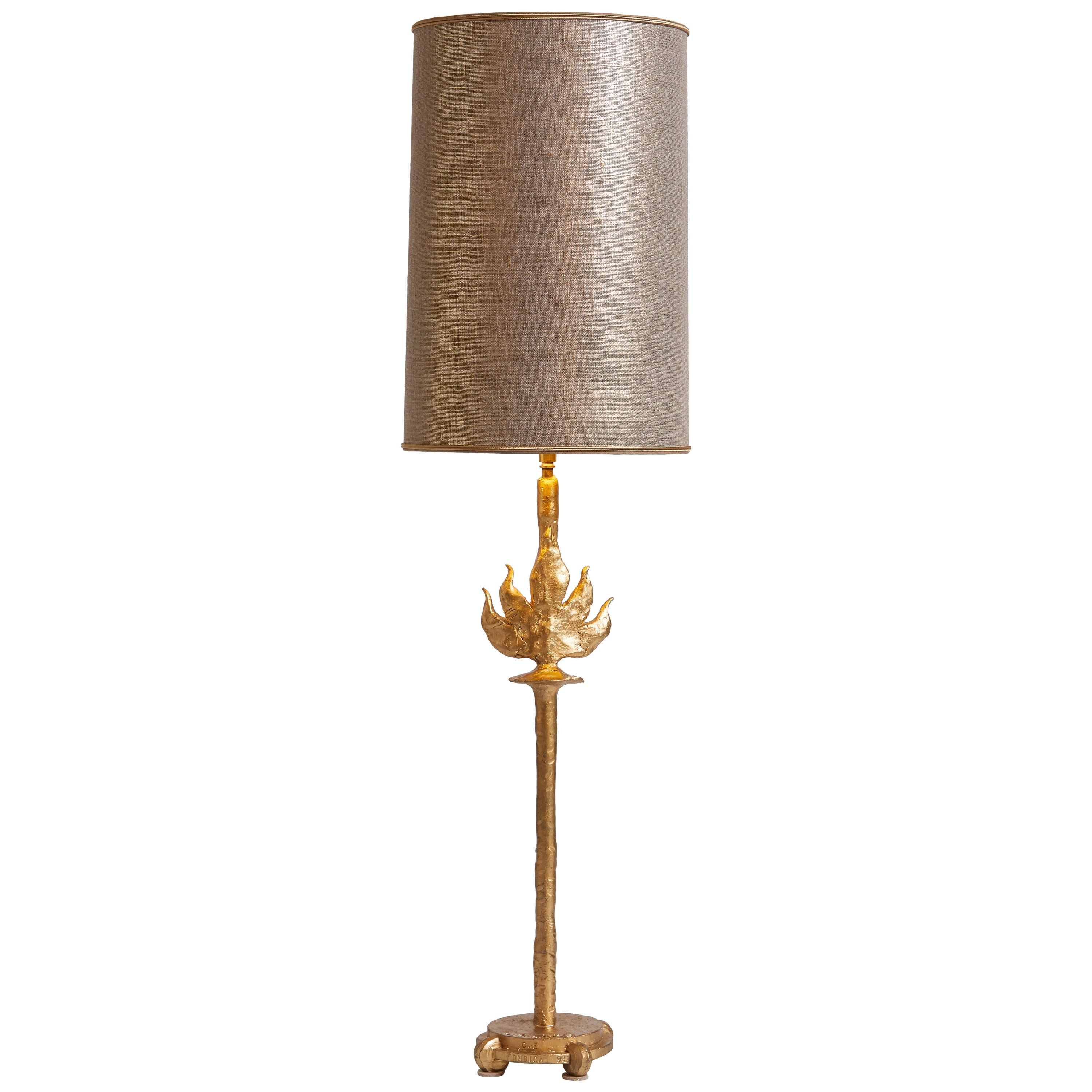 1980s French Fondica Gilt Metal Table Lamp
