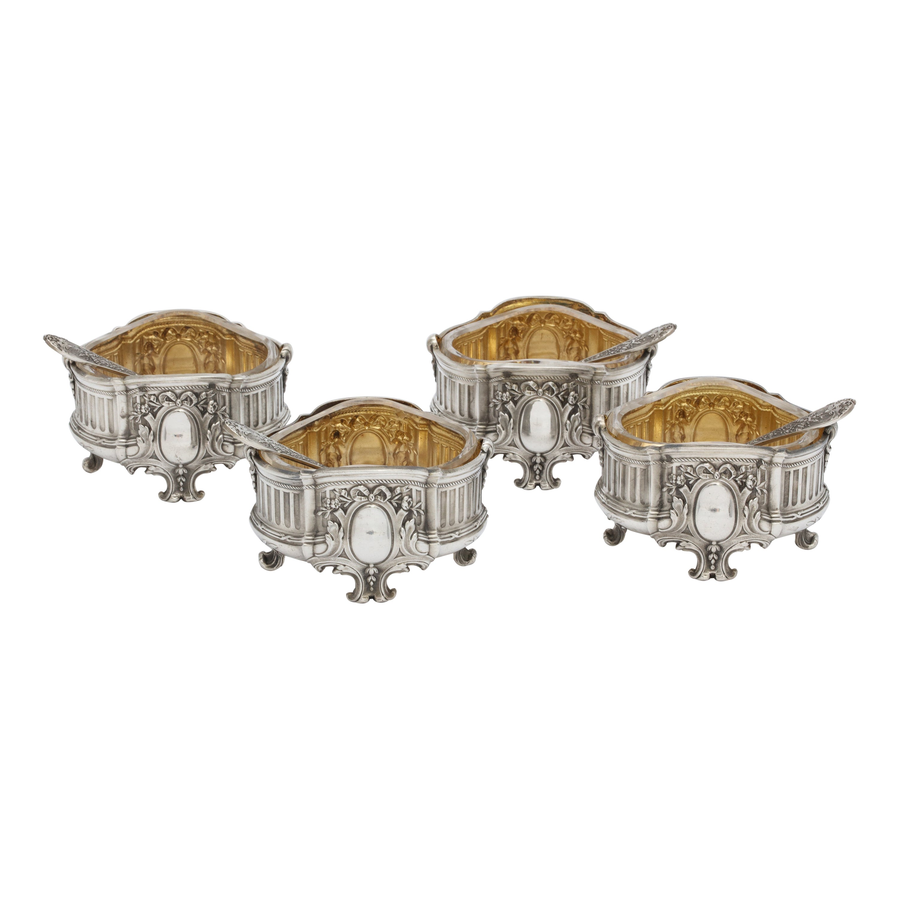 Empire Set of Four French Sterling Silver '.950' Footed Open Salt Cellars-Venner
