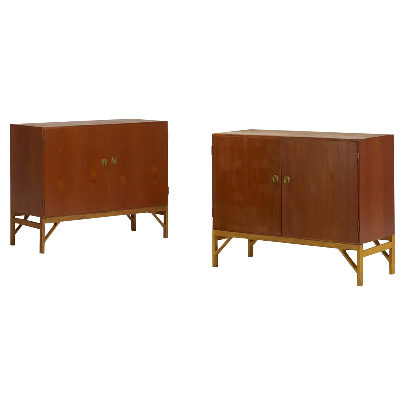 Pair of Teak, Oak and Brass Cabinets Designed by Borge Mogensen