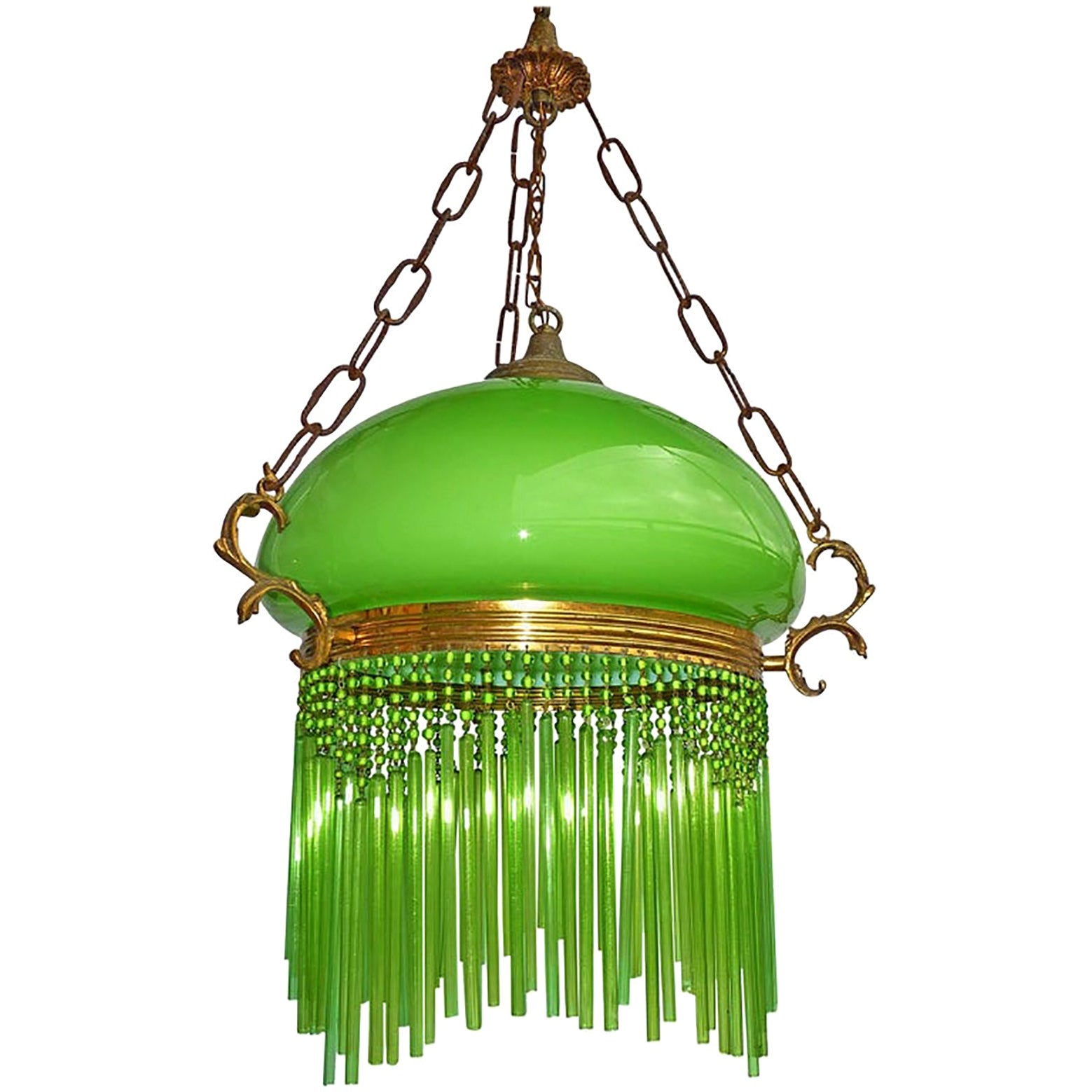 French Art Nouveau and Art Deco Green Glass Shade and Straws Fringe Chandelier