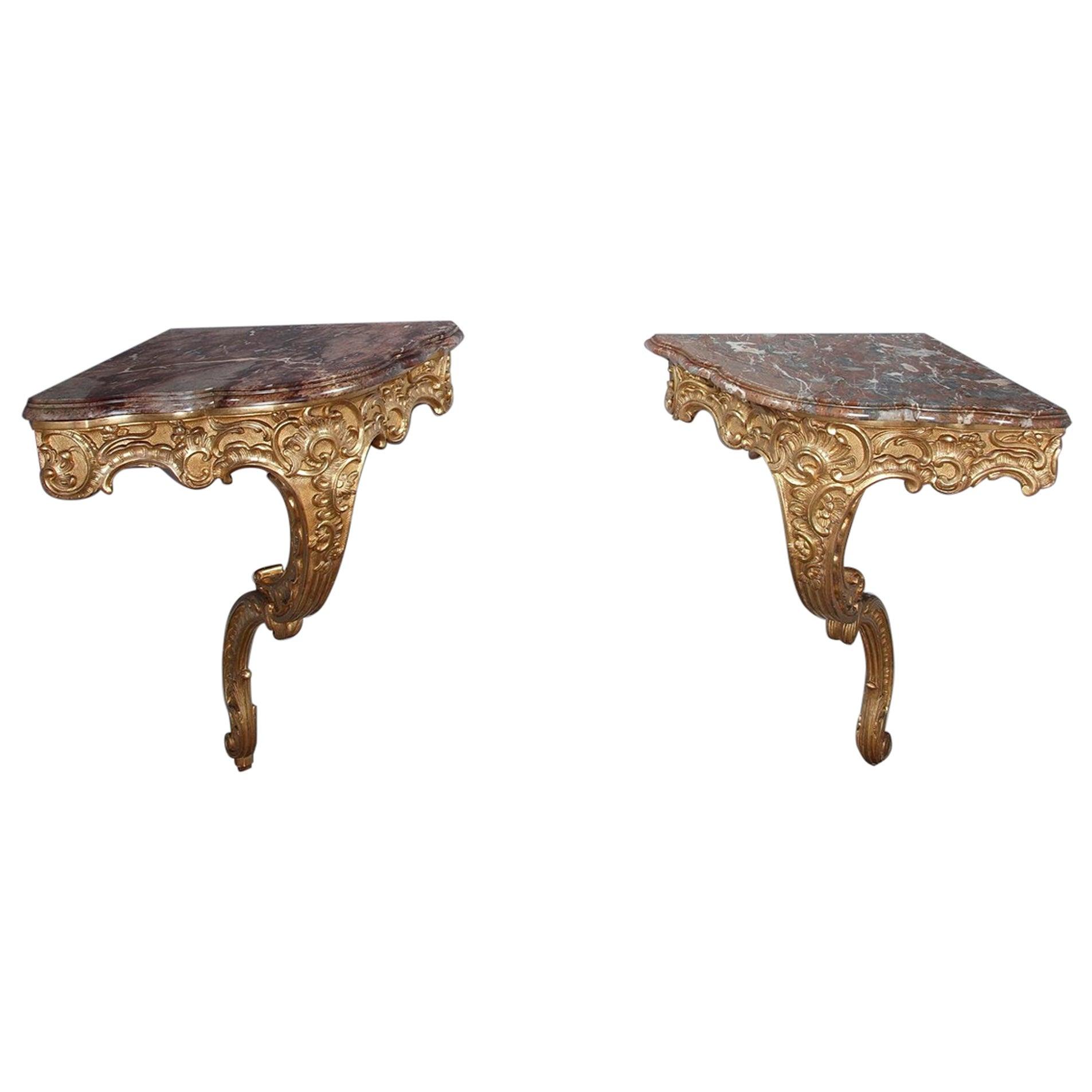 Louis XV Style Corner Consoles, Set of 2