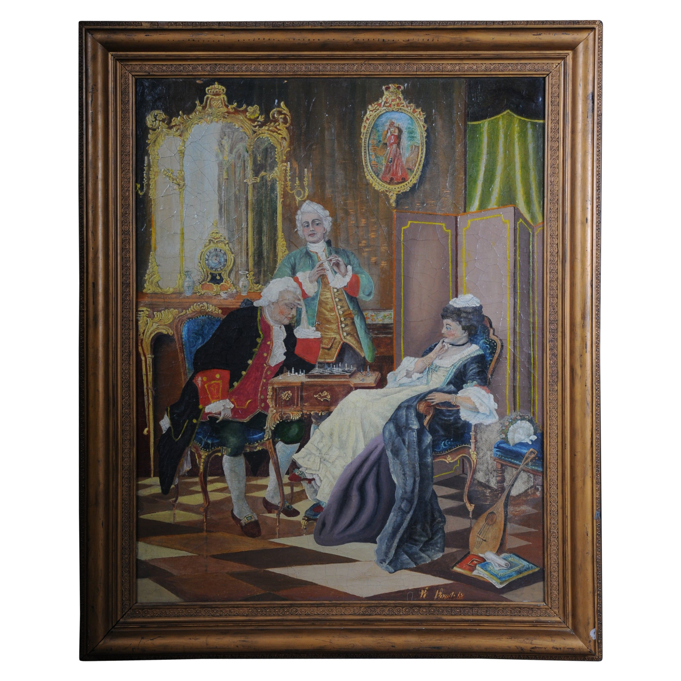Large Oil on Canvas Rococo Painting, circa 1900