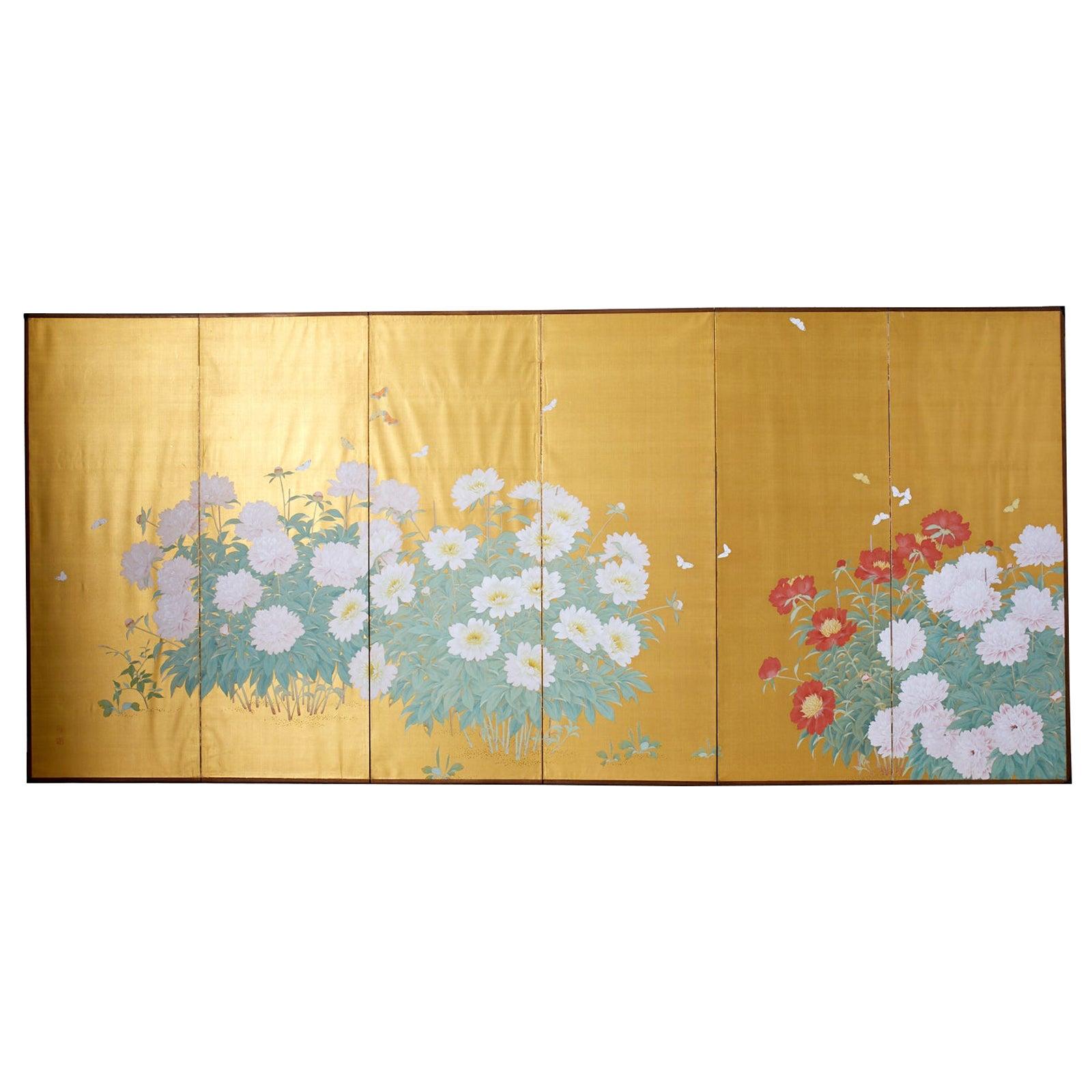 Japanese Six-Panel Meiji Screen Flowering Peonies and Butterflies