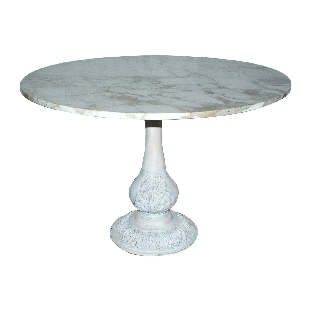 Victorian Cast Iron Pedestal Dining Table with Round Marble Top