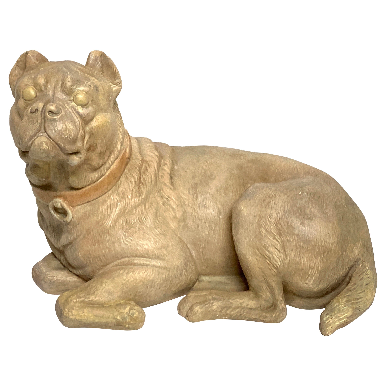 Antique English Terracotta Recumbent Pug Dog