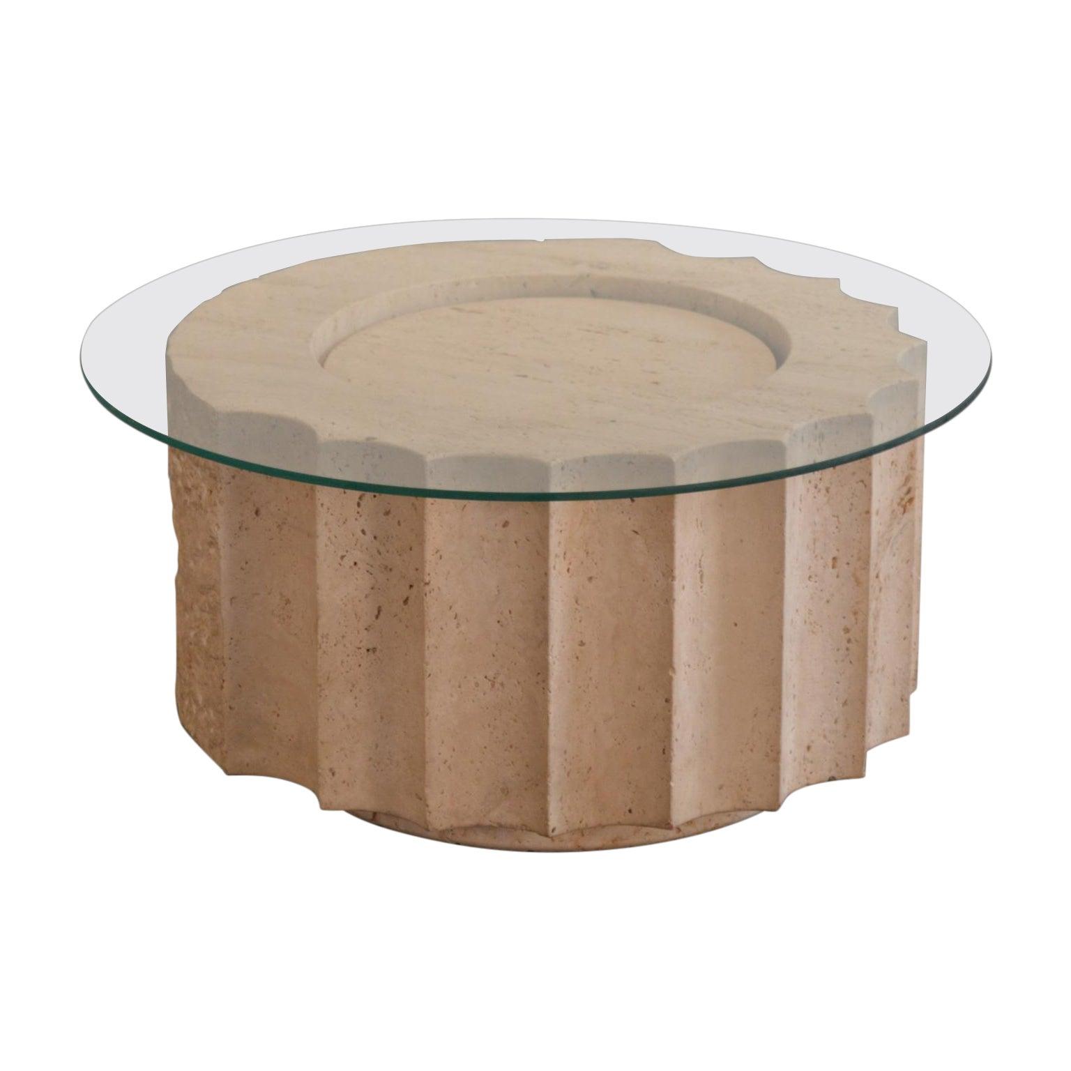Post-Modern Travertine Coffee Table