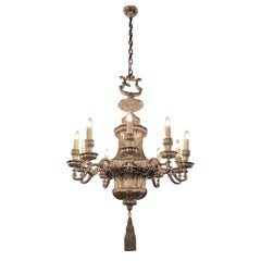 1895 Silvered Bronze Georgian Style, Ten-Arm Chandelier by E. F. Caldwell