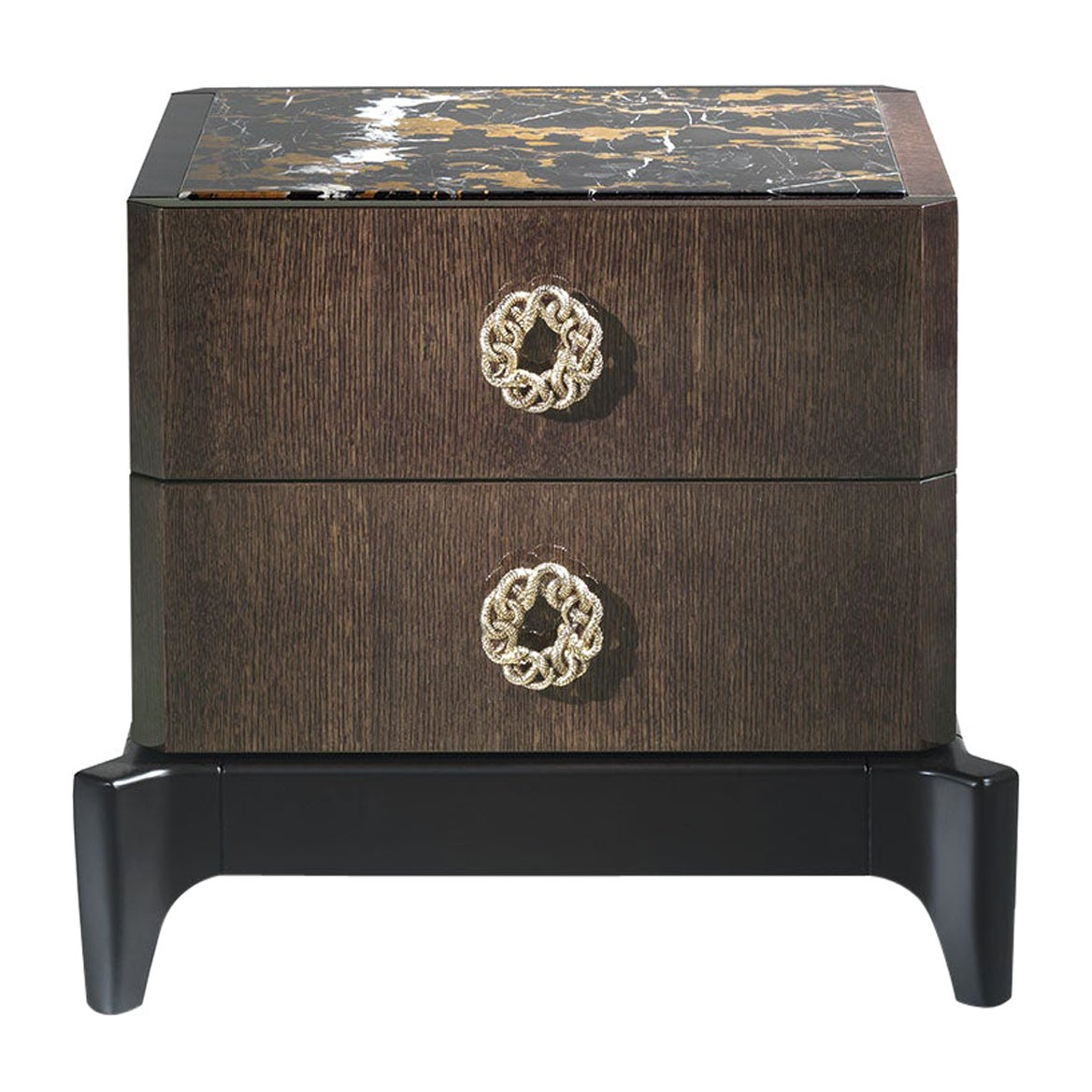 Corner.2 Night table in Wood and Marble Top by Roberto Cavalli Home Interiors