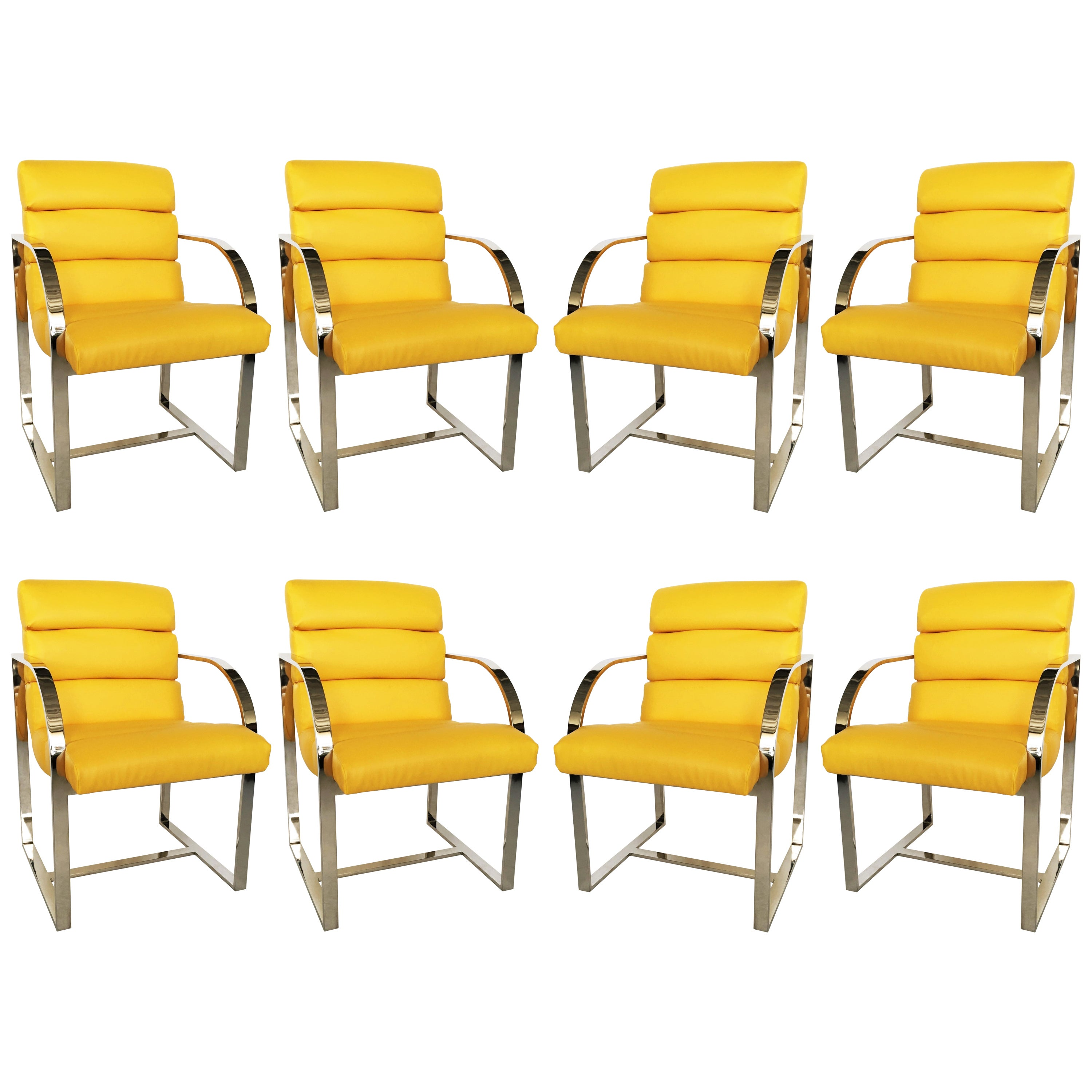 Eight Yellow and Chrome Dining Chairs by Milo Baughman for Thayer Coggin
