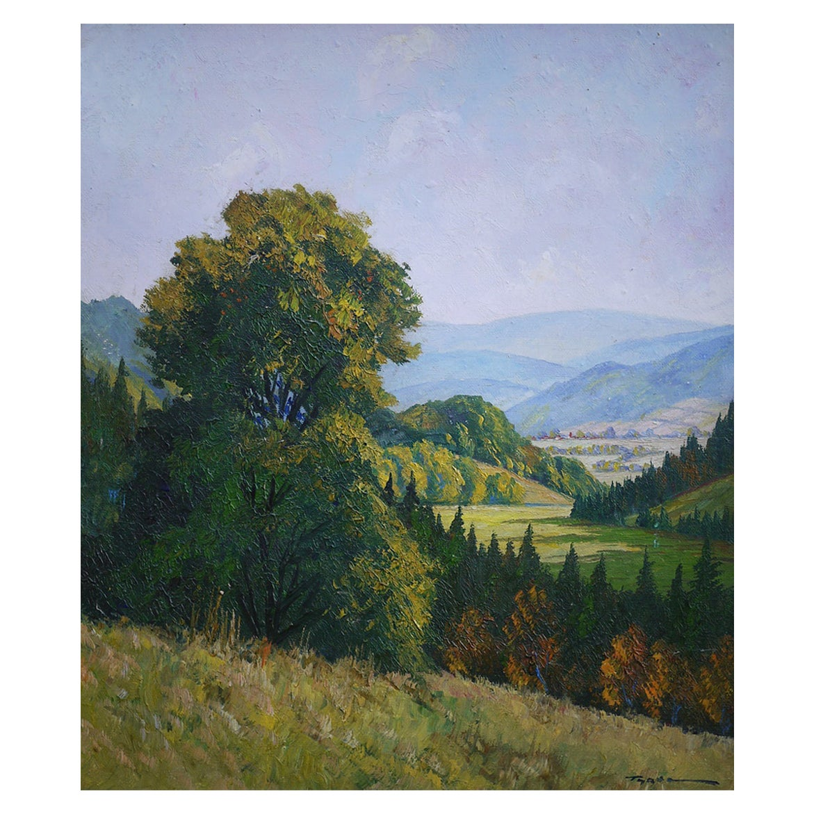 Hilly Landscape Nature Painting Italian Oil on Canvas 1930