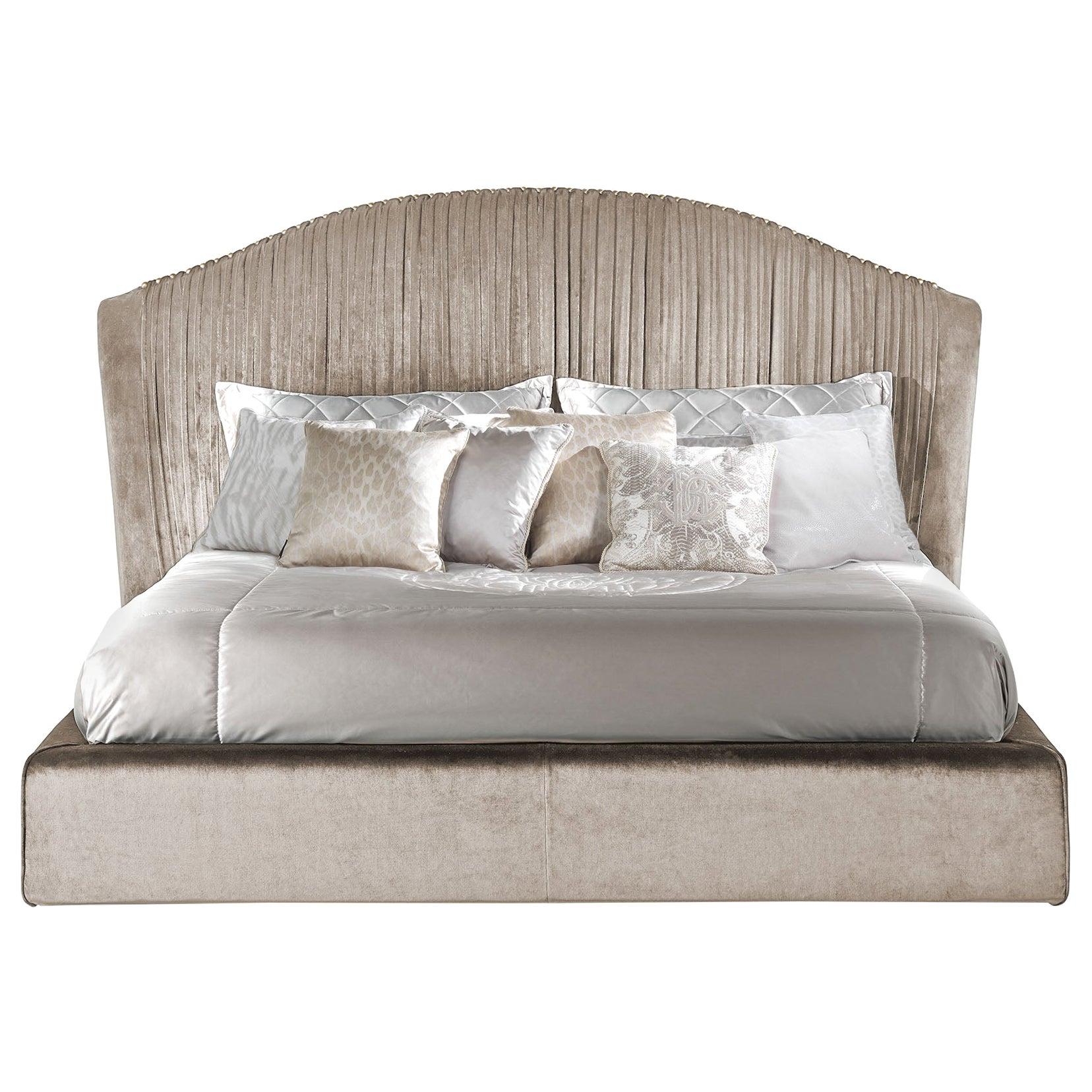 Sharpei Bed in Sand Velvet by Roberto Cavalli Home Interiors