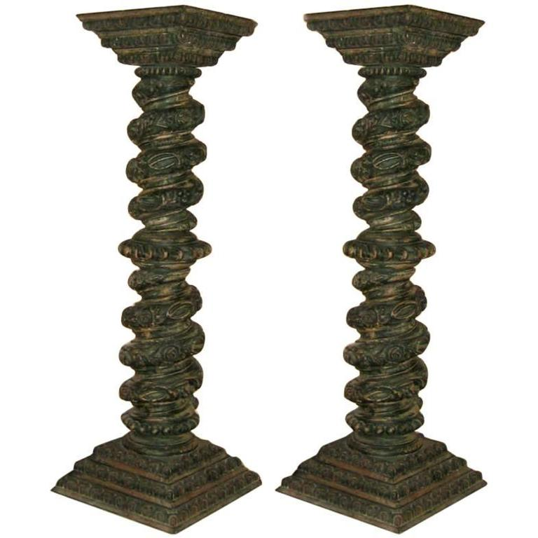 Pair of Large Carved Wood Spanish Colonial Columns
