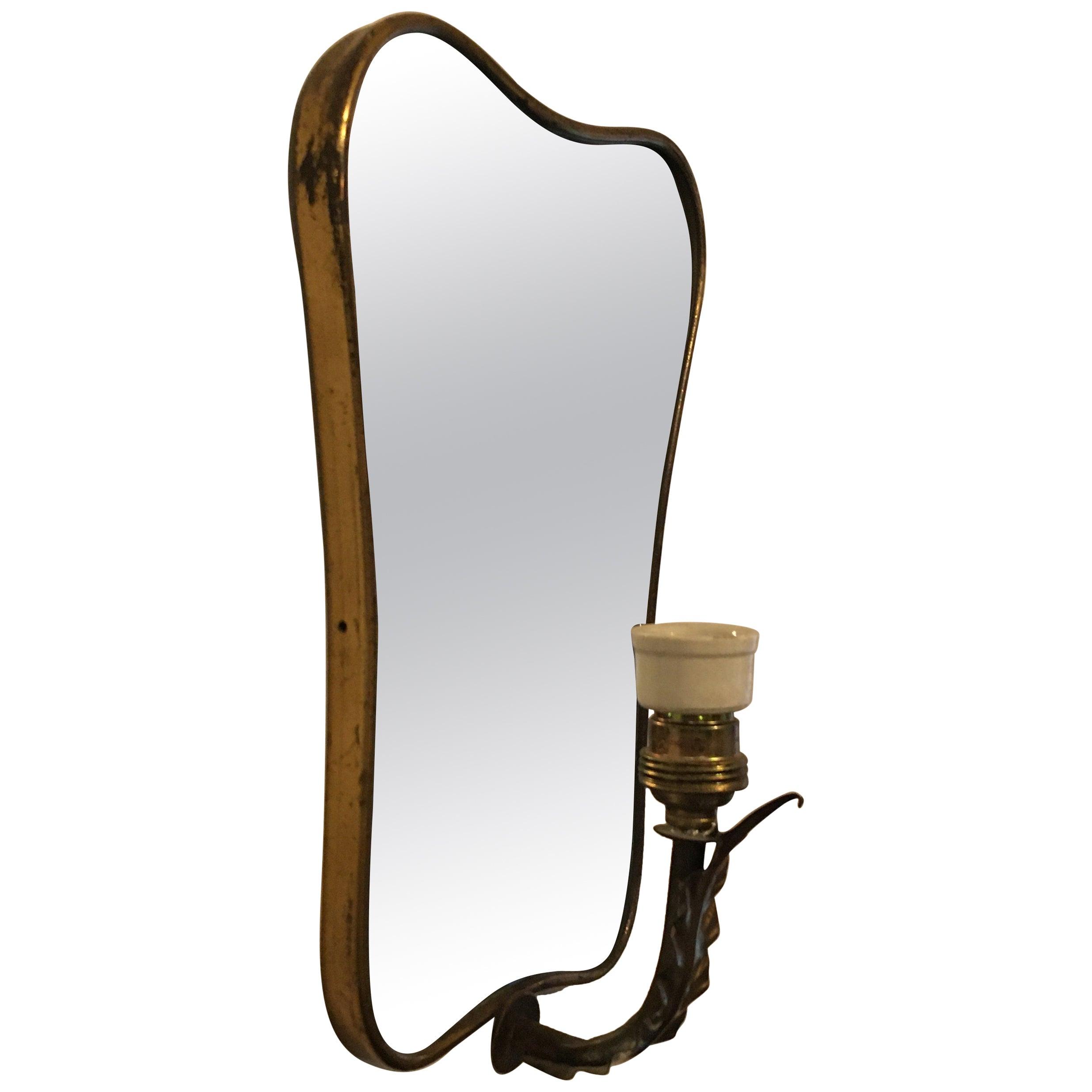 Italian Brass and Ceramic Wall Mirror, 1950s