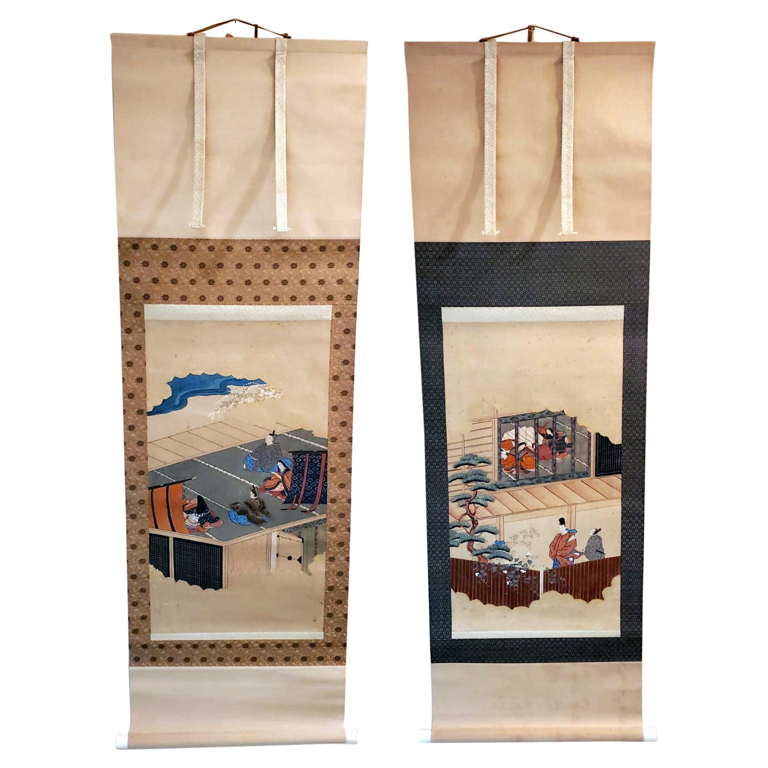 Two Antique Japanese Hanging Scroll Paintings