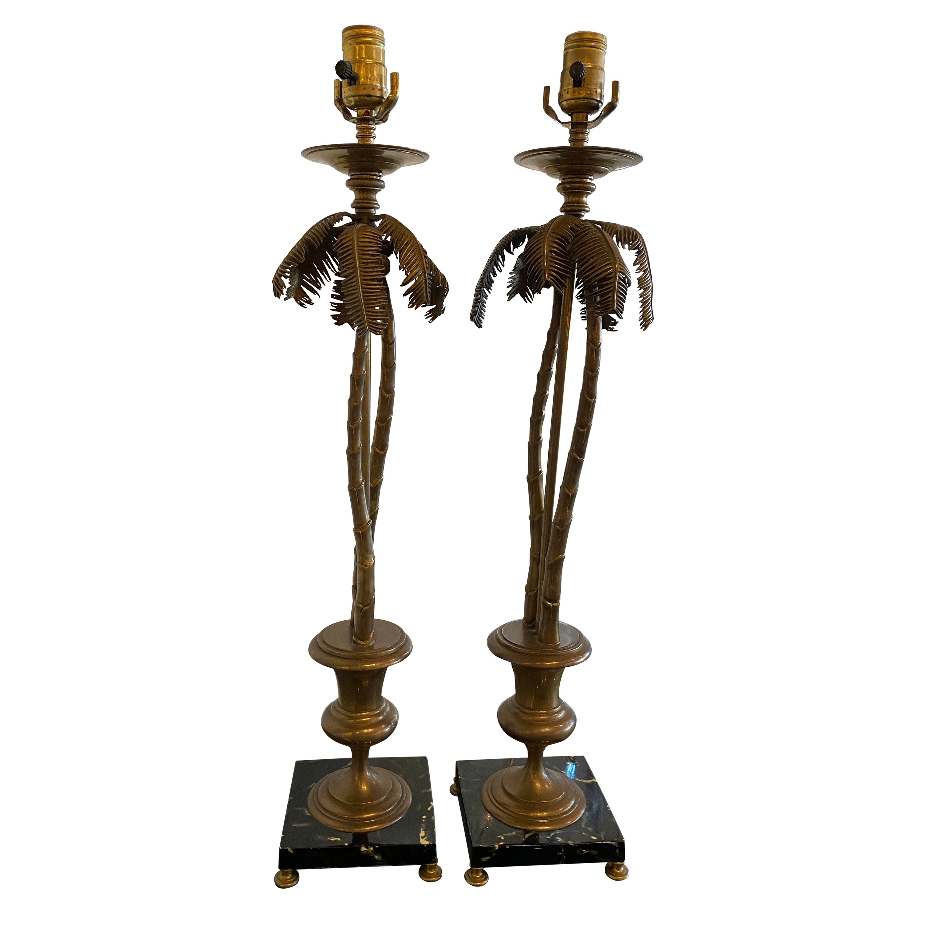 Vintage Pair of Tropical Palm Beach Brass Marble Palm Tree Table Lamps