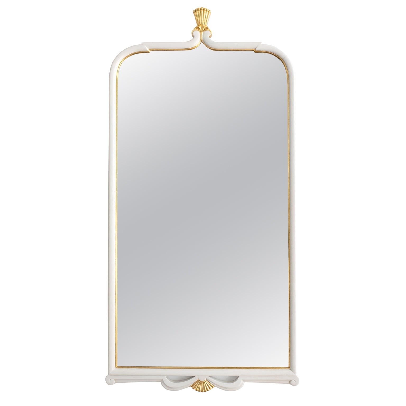 Swedish Grace Swedish Art Deco Mirror with Gold Crown details
