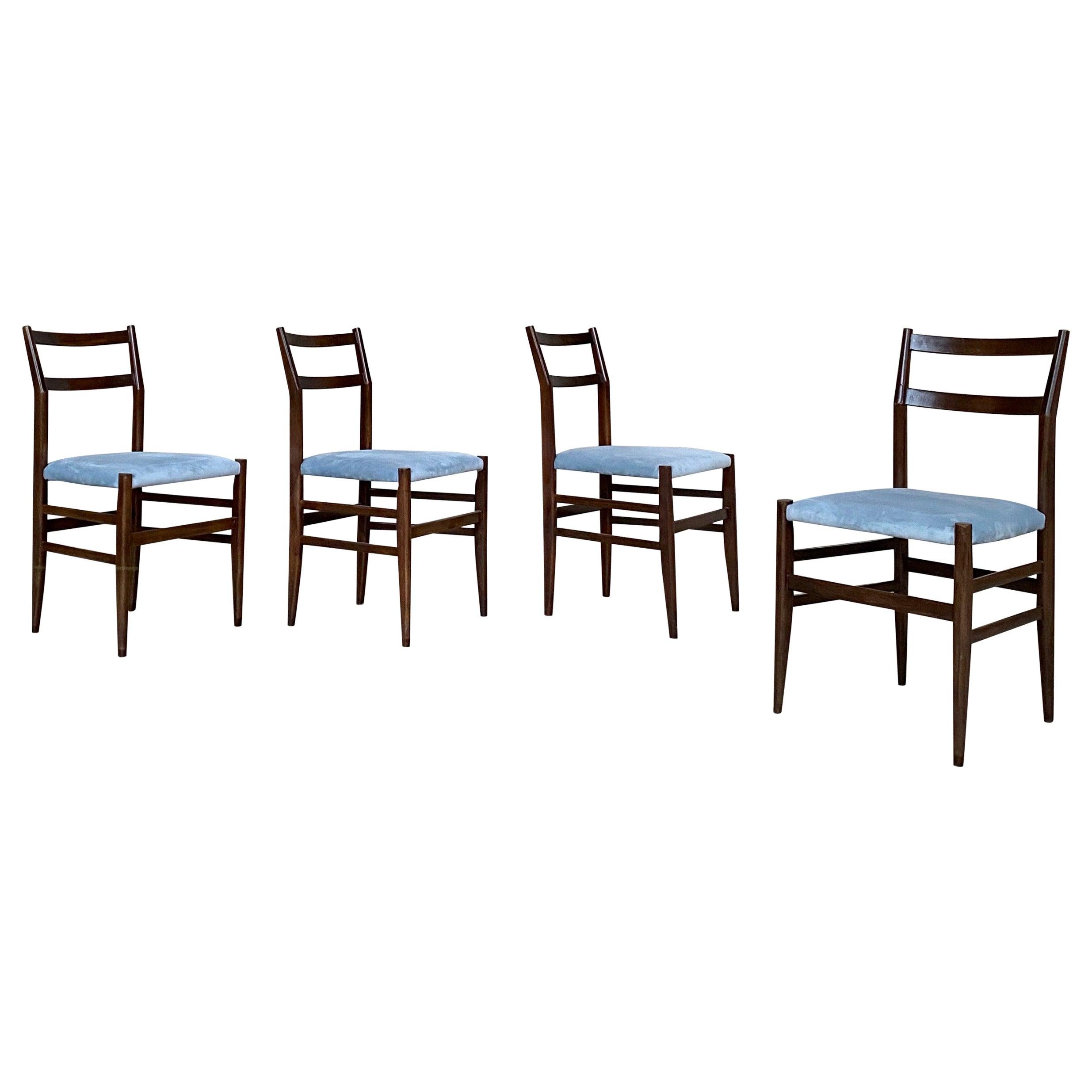 "Gio Ponti 646 ""Leggera"" Dining Chairs for Cassina, 1955, Set of 4"