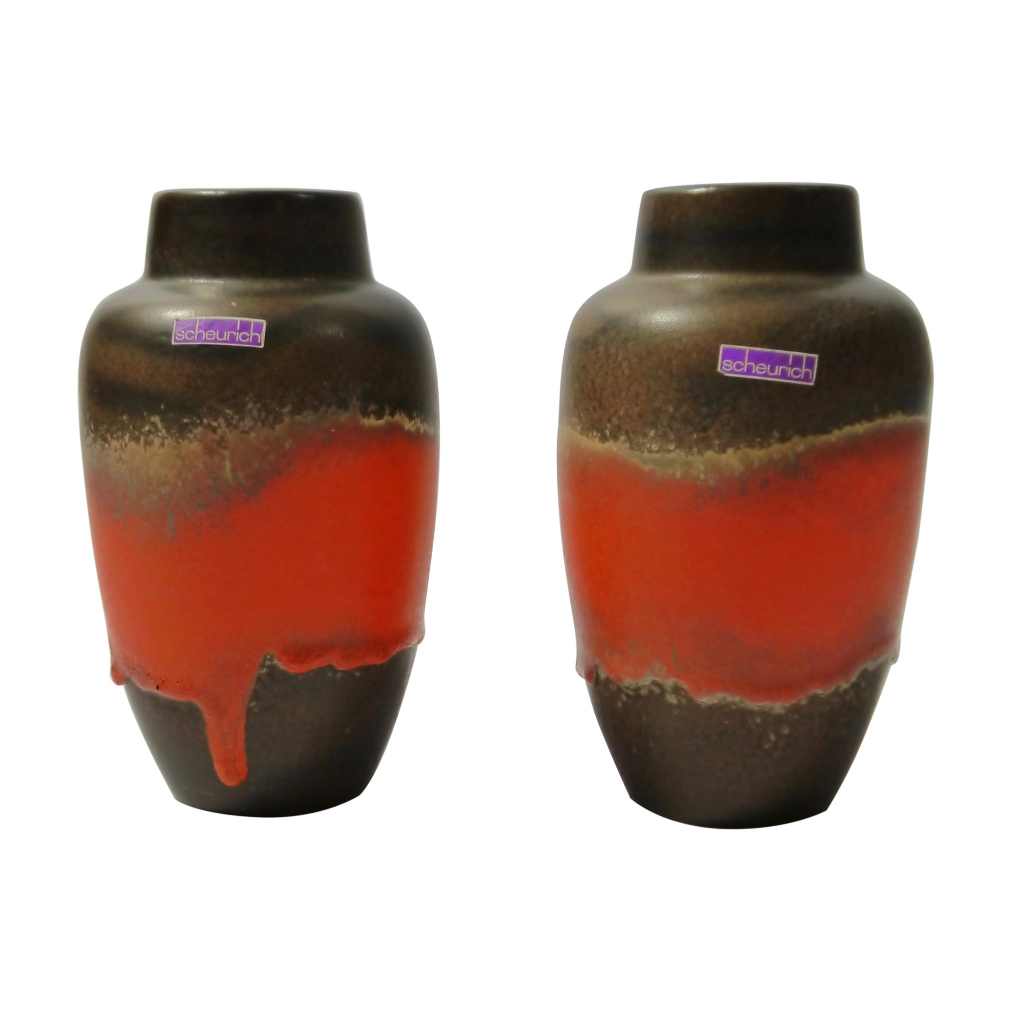 Pair of Fat Lava Ceramic Vases by Scheurich, West Germany, 1960s