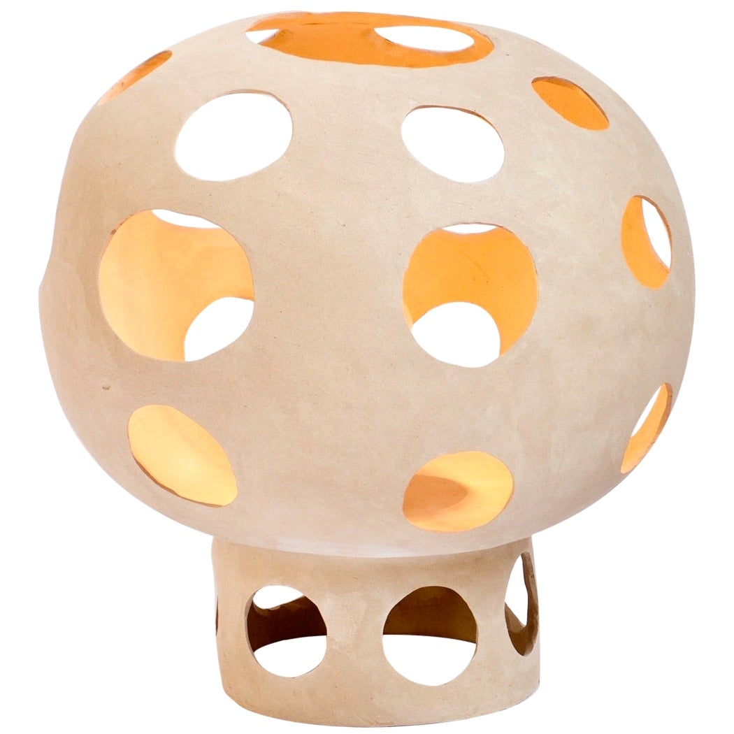 Contemporary Sculptural Hand-Built Ceramic Dome Table Lamp in Light Earth Tone