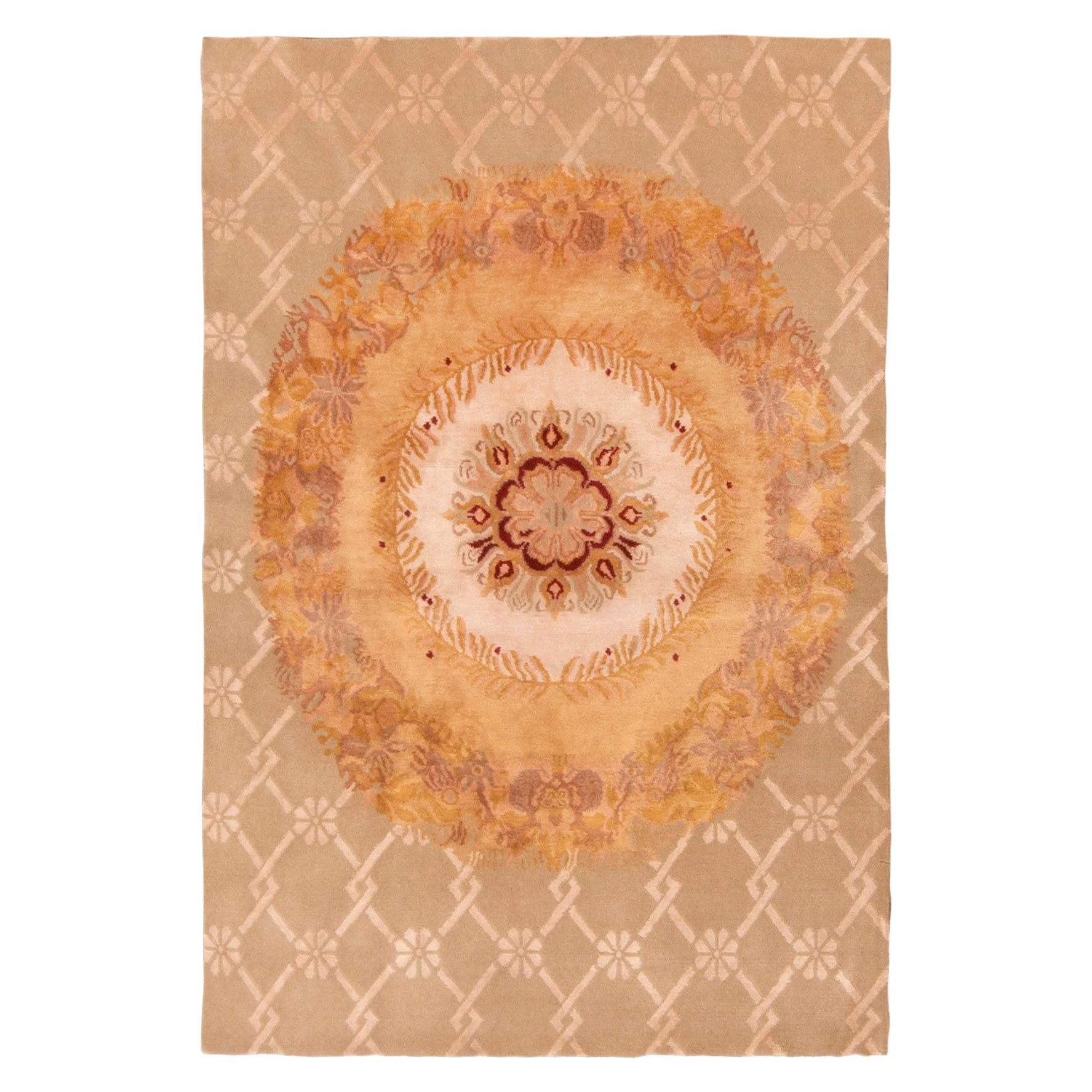 Rug & Kilim's Aubusson Inspired Floral Cream and Gold Wool and Silk Rug
