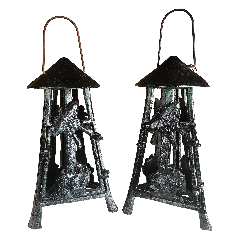 """Japanese Art Nouveau Pair """"Butterfly & Orchid"""" Garden Flower Lanterns"""