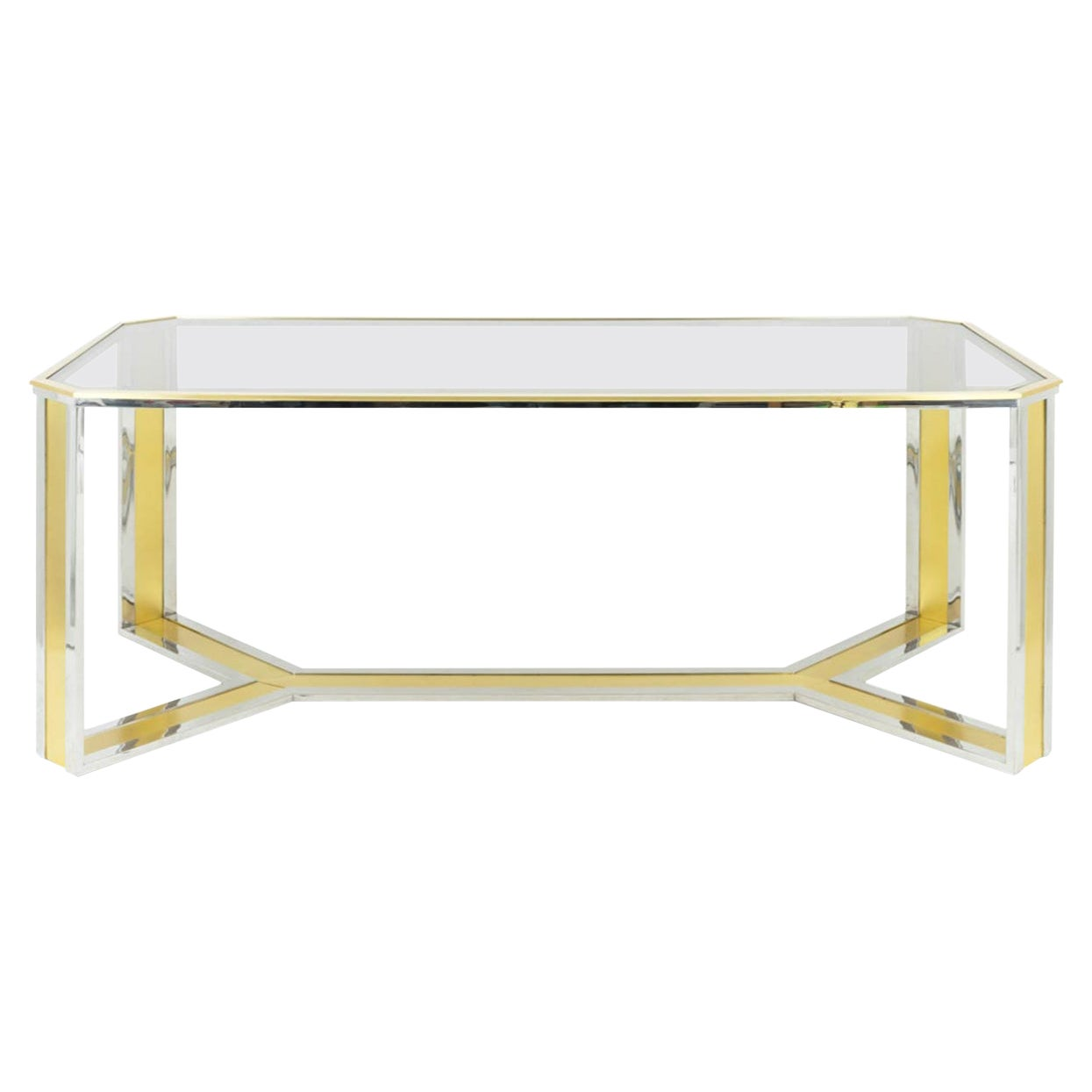 Romeo Rega Style Table in Chromed and Gilt Brass, Smoked Glass, 1970s
