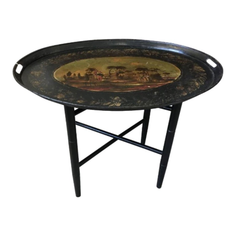 19th Century French Painted Tole Tray with Stand Colonial Islands