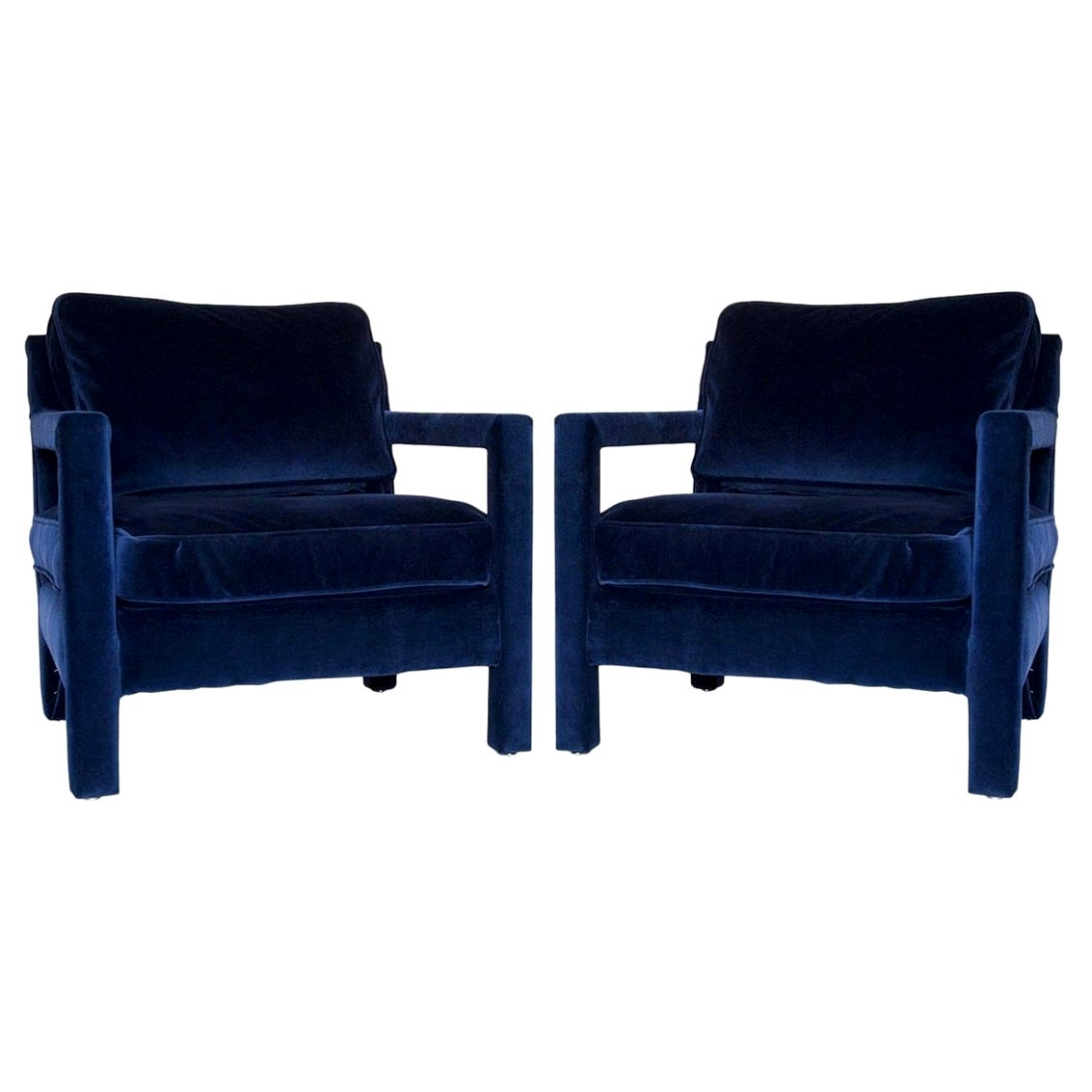 Pair of Milo Baughman Style Parsons Chairs in Blue Velvet
